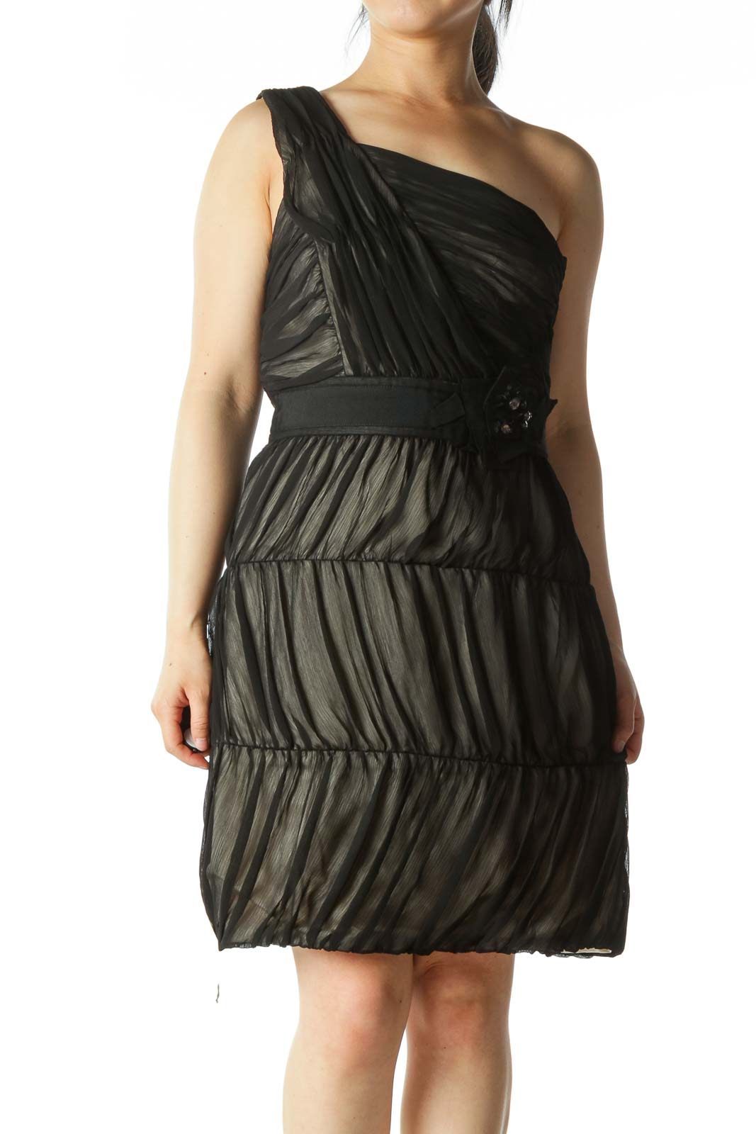 Black Chiffon One-Shoulder Dress  Front
