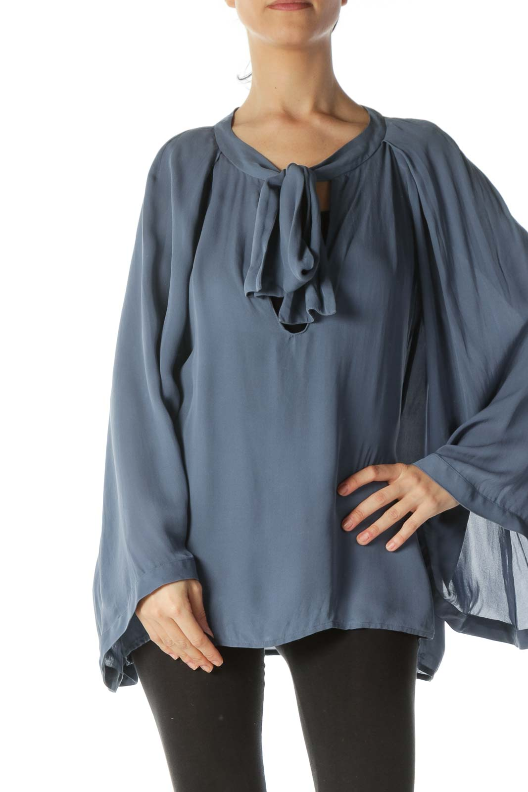 Gray 100% Silk Neck-Keyhole-Tie Flared-Sleeves Blouse Front