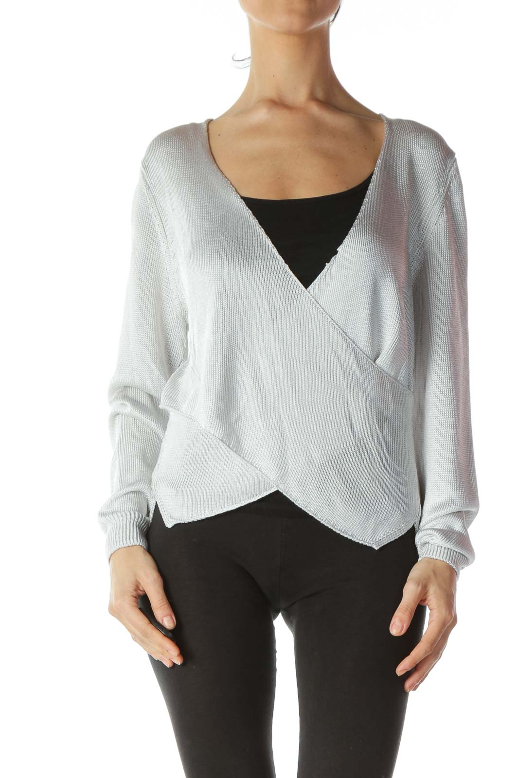 Silver V-Neck Wrap Long-Sleeve Knit Top Front