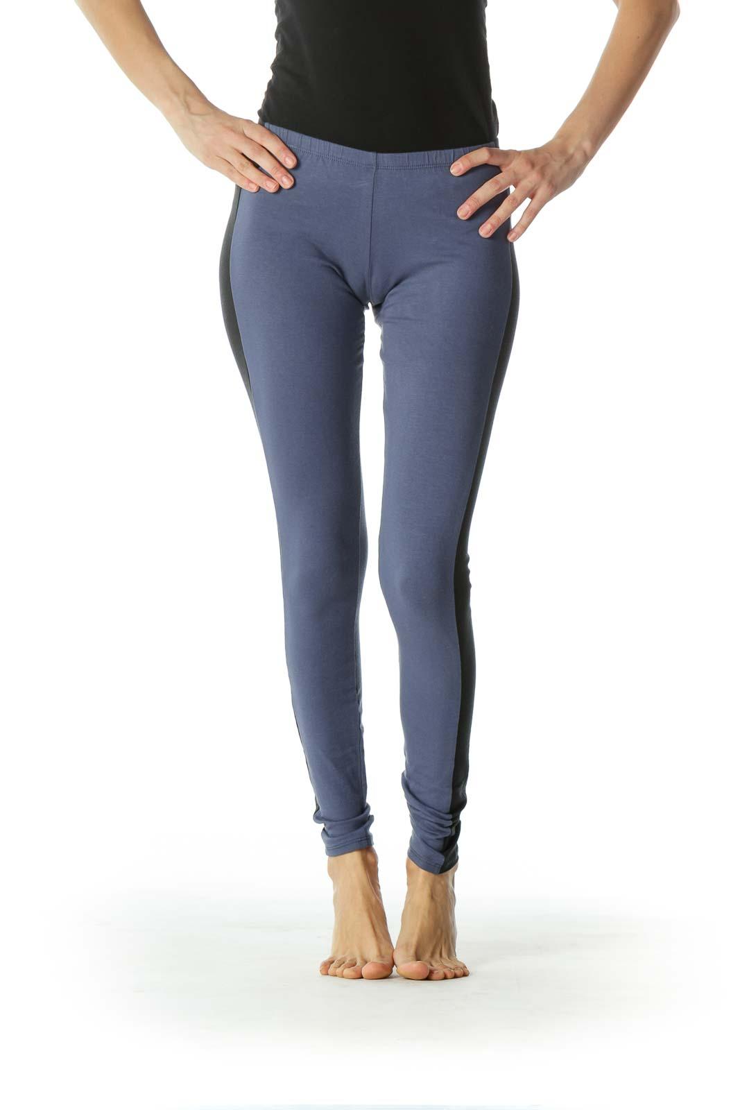 Blue and Black Stripes Legging  Front