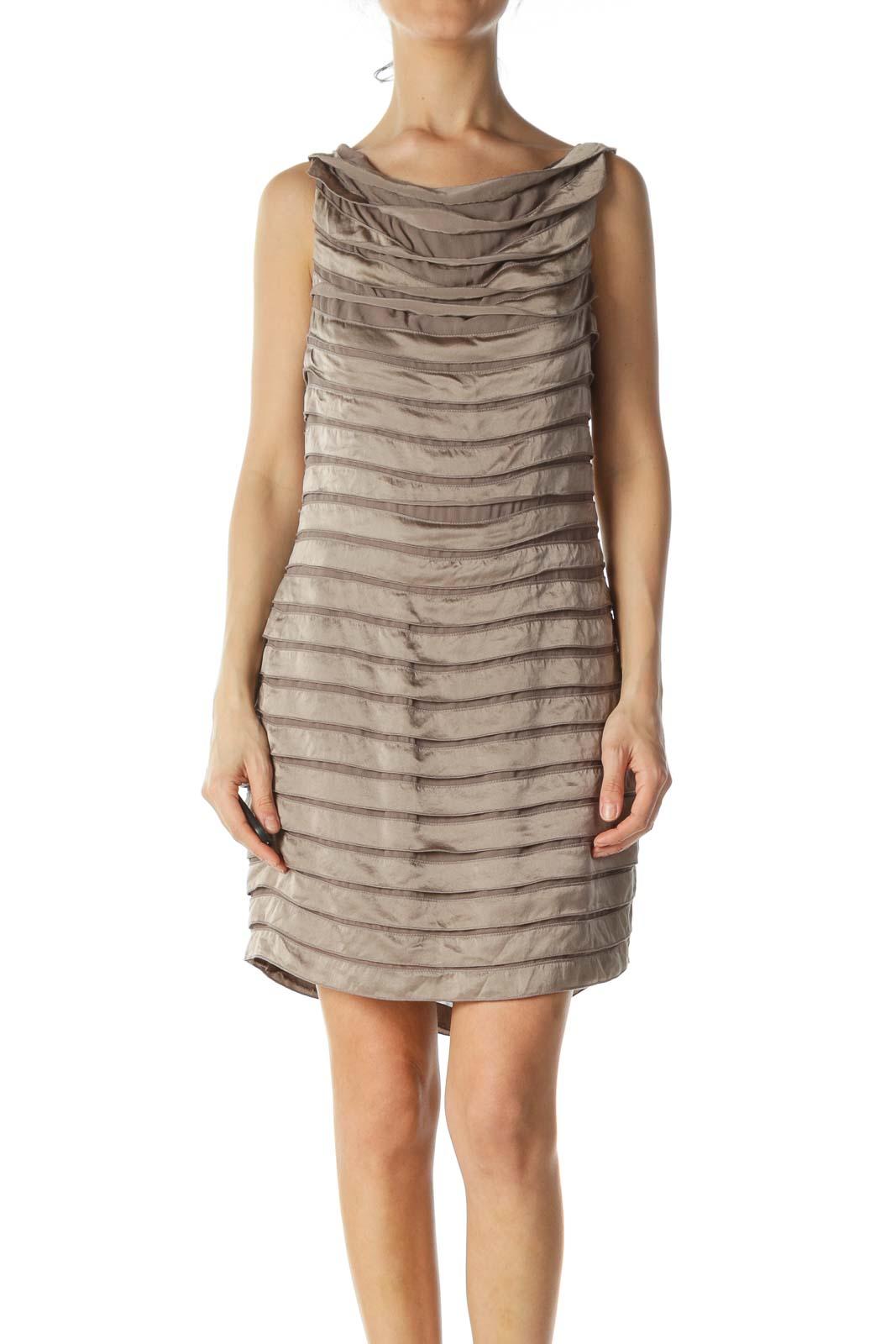 Beige Silk Cocktail Dress  Front