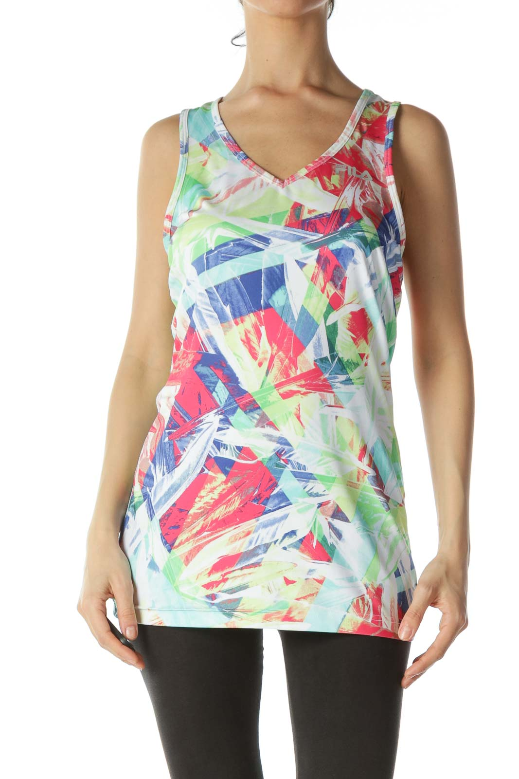 Multicolor Patterned Athletic Tank Top Front