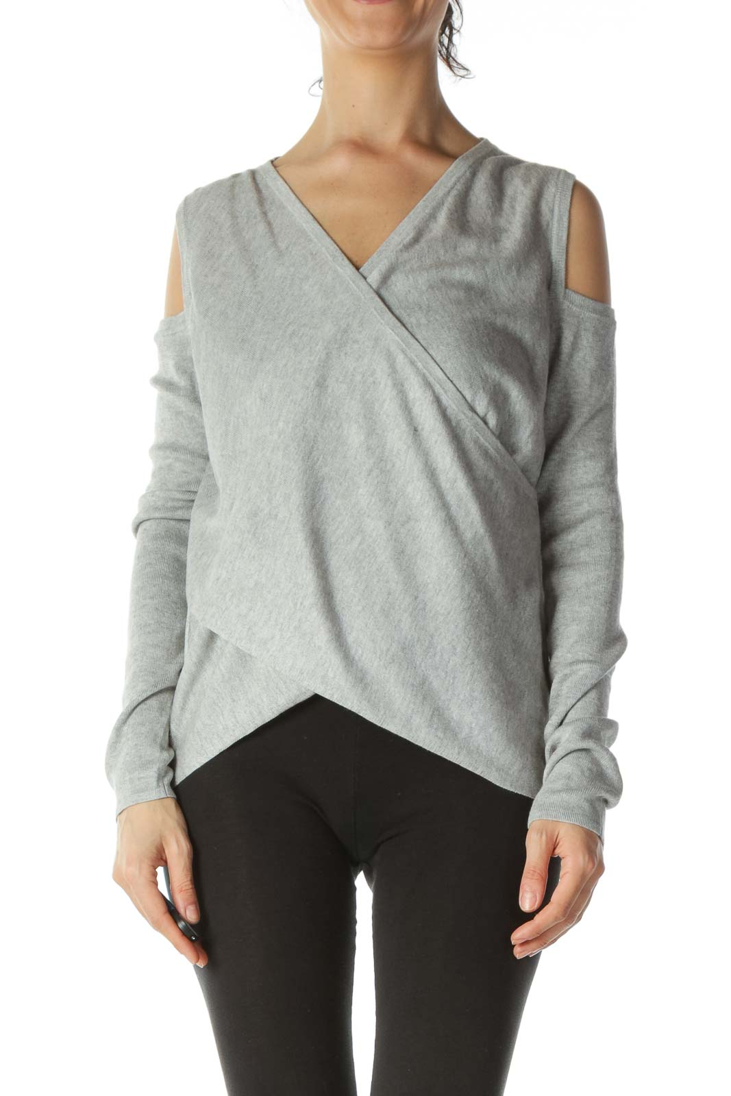 Grey Designer Silk Cashmere Knit Top Front