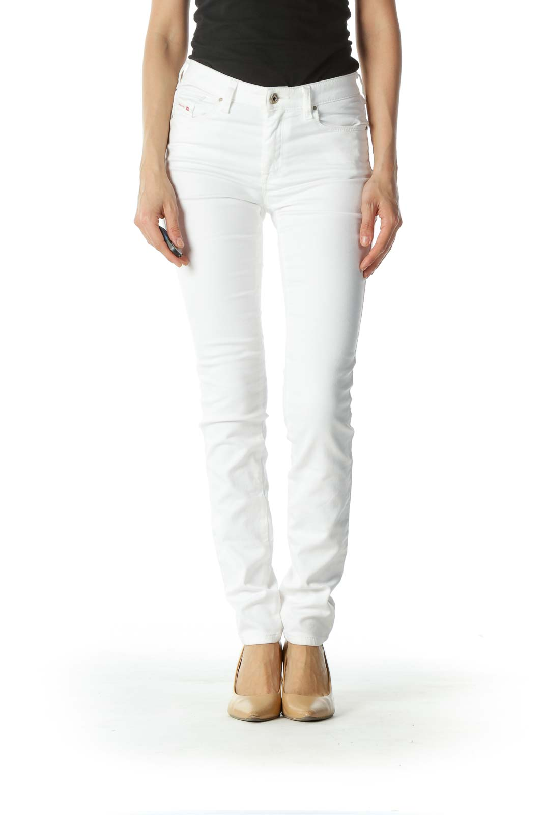 White Straight-Leg Denim  Front