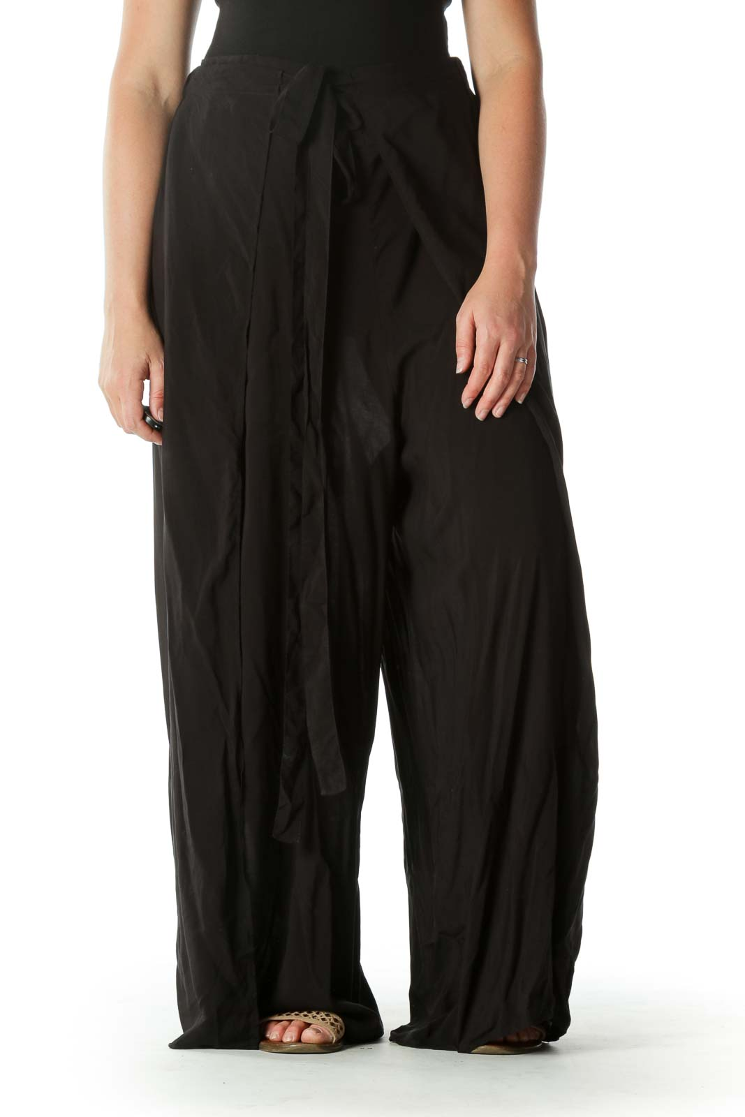 Black Slitted Pant Front