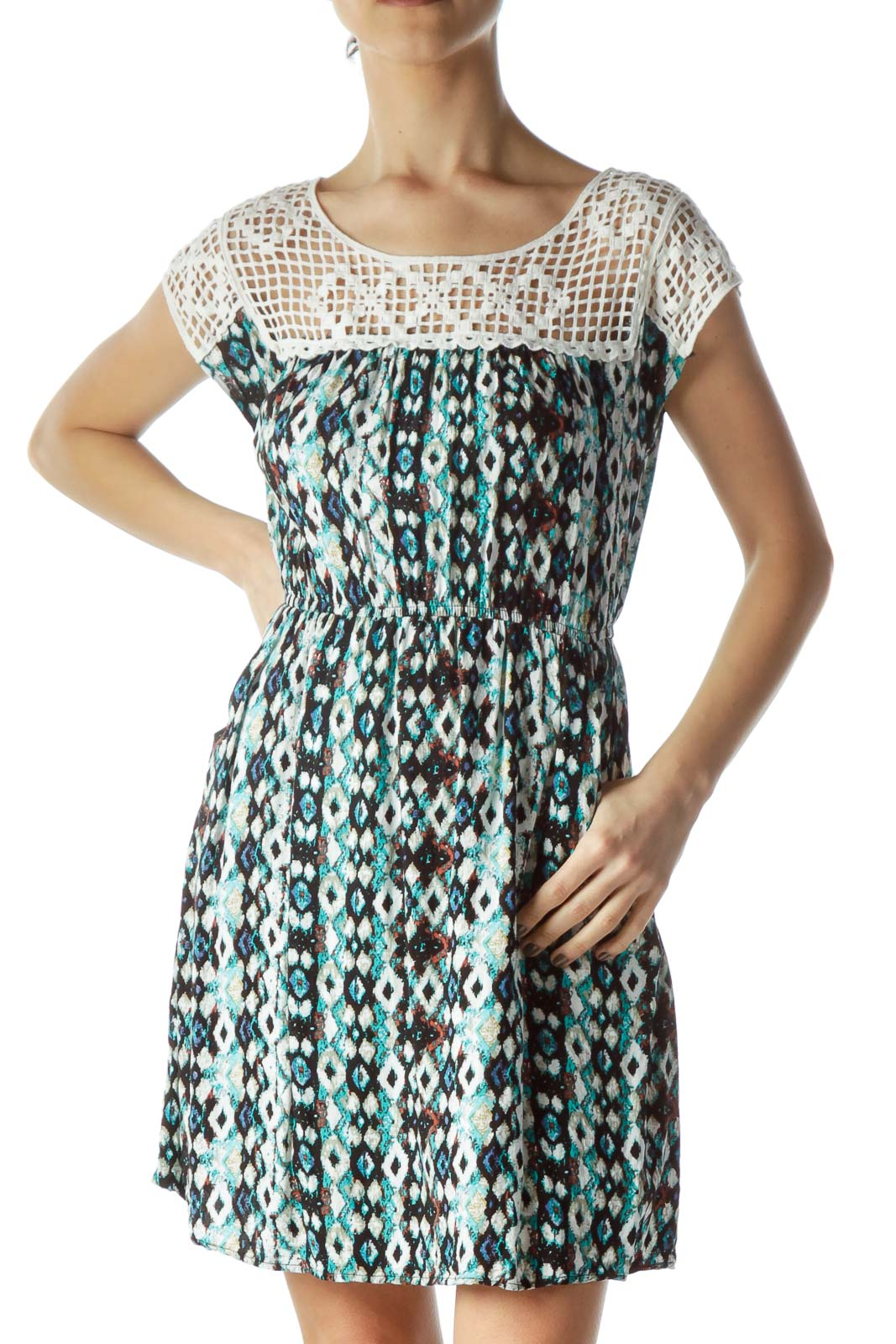 Blue Paint Print Crocheted Neck Dress Front