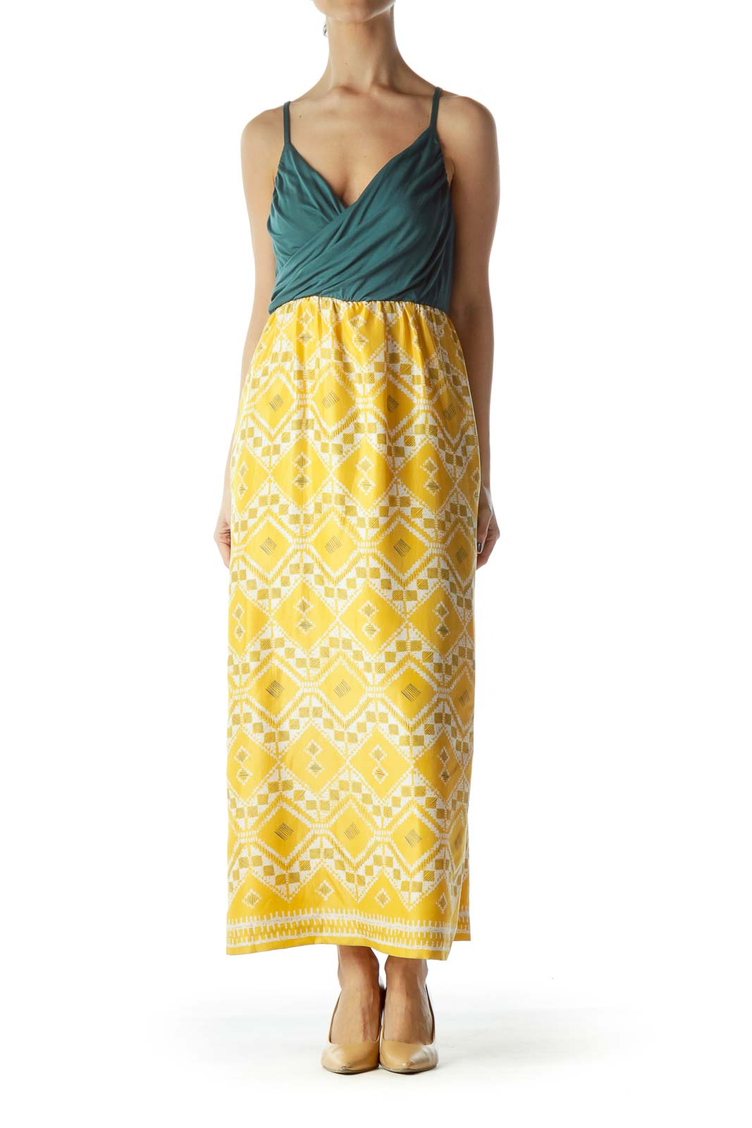 Yellow and Turquoise Midi Dress Front