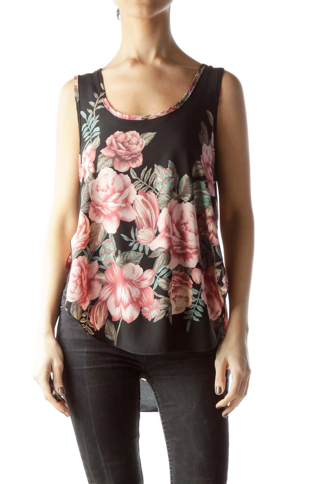 Black Pink Green Flower Print Sleeveless Shift Blouse Front