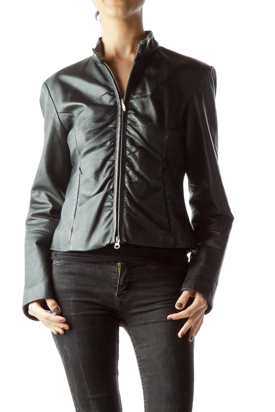 Black Zippered Leather Jacket Front