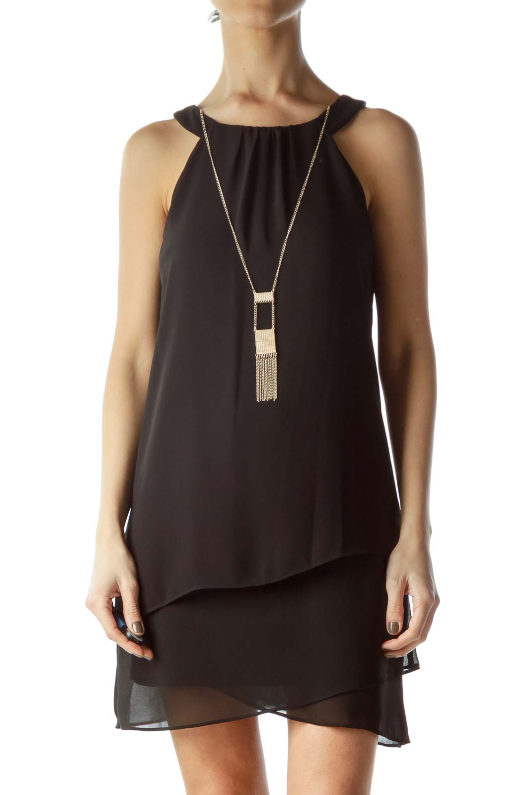 Black Halter Dress with Built-In Necklace  Front