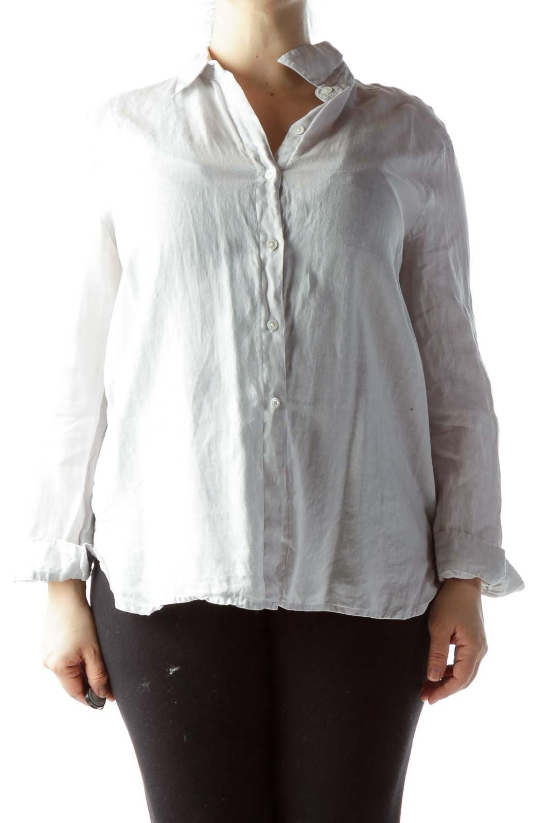Beige Collared Buttoned Long Sleeve Knit 100% Linen Shirt Front