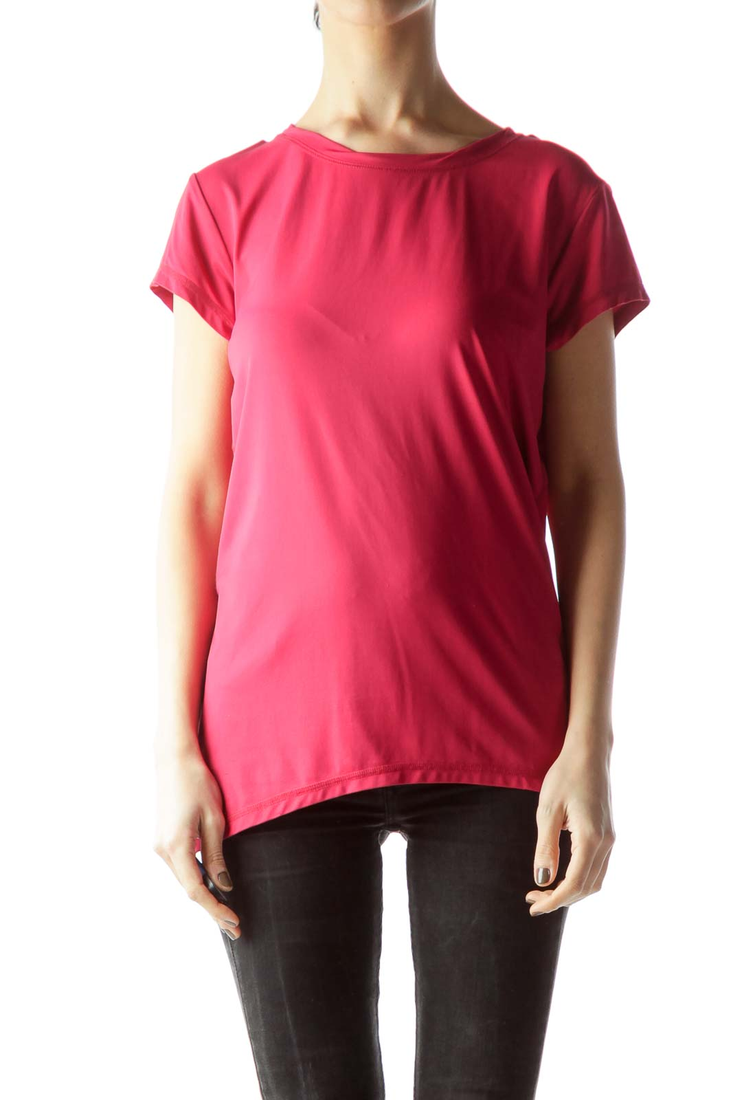 Rose Pink Short Sleeve Stretch T-Shirt Front