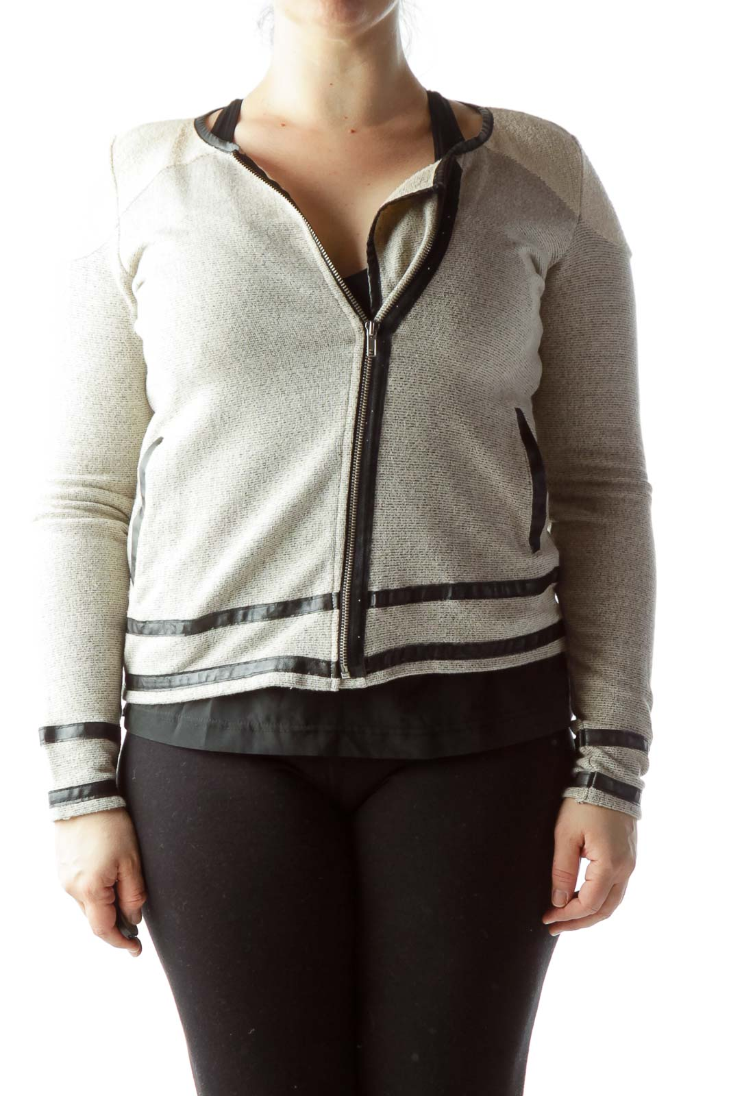 Cream Gray Black Contrasting Piping Zippered Jacket Front