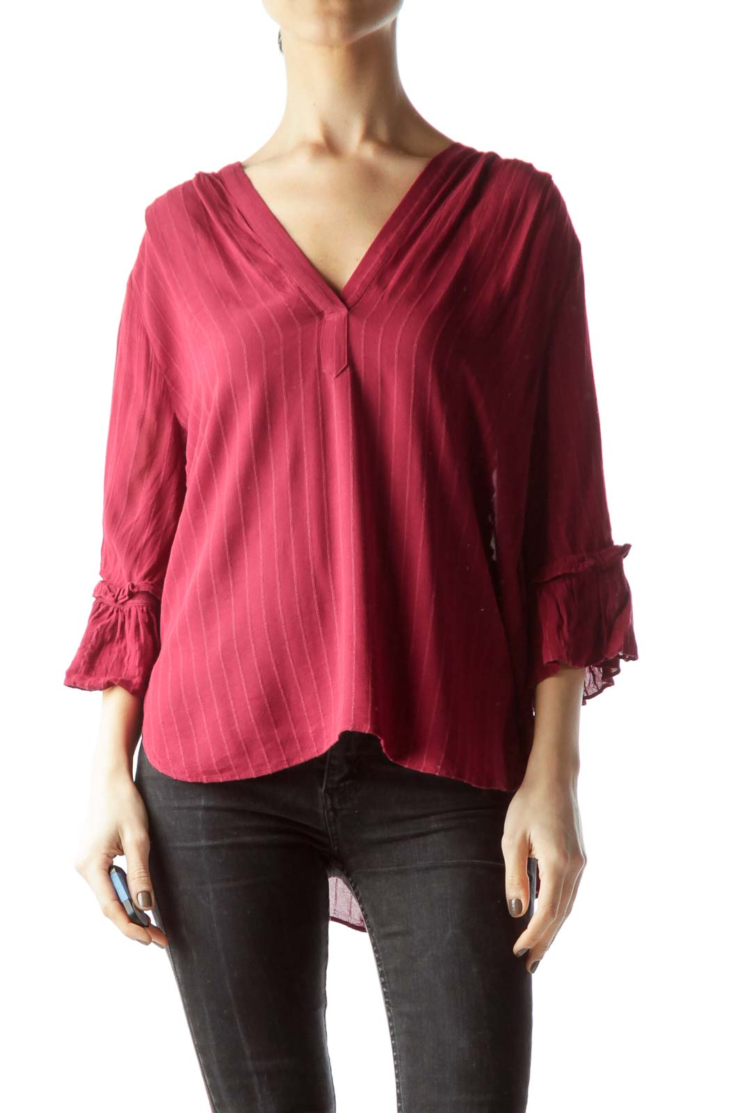 Red V-Neck Ruffled 3/4 Sleeves Flared Blouse Front