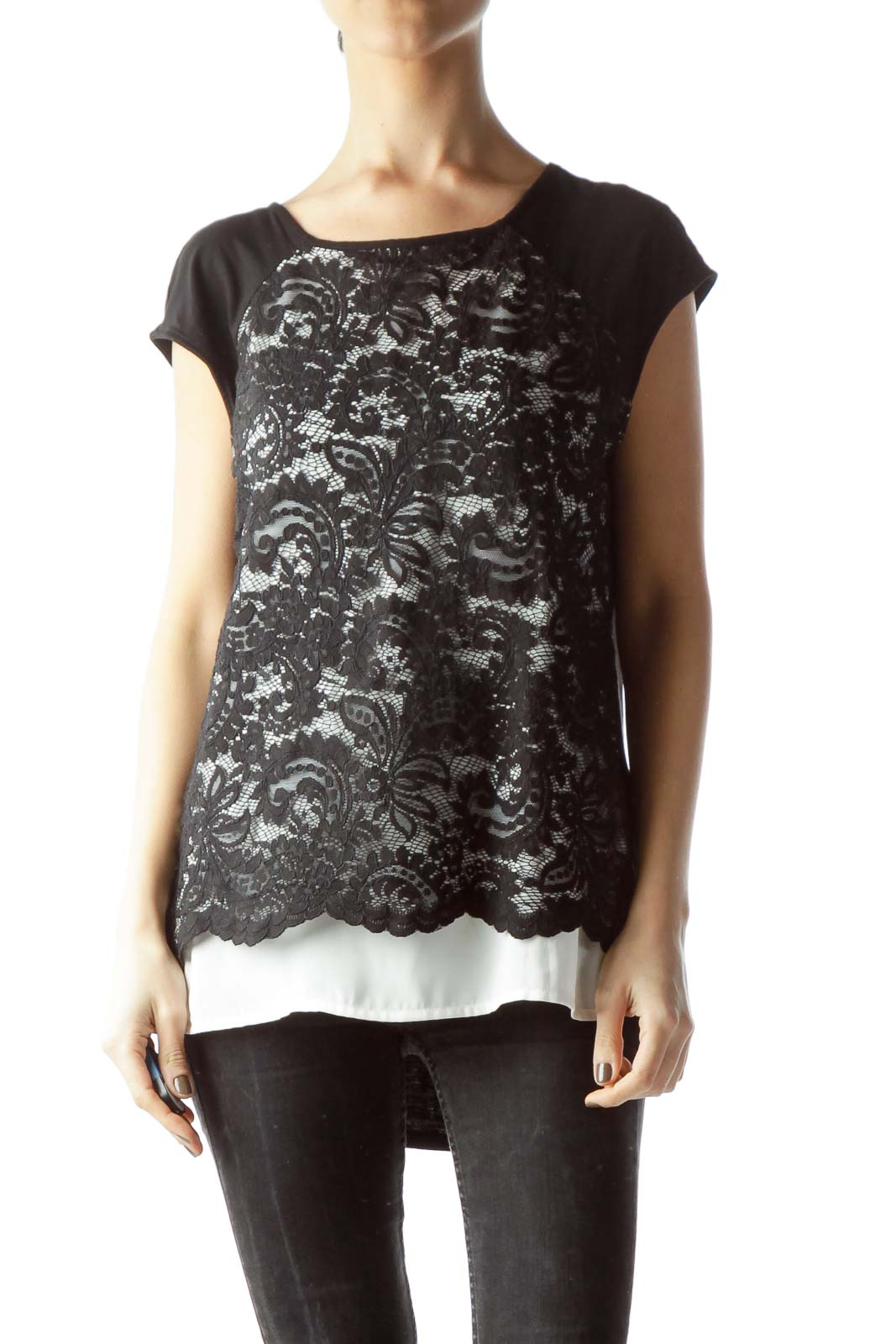 Black White Lace Front Mixed Media Flared Blouse Front