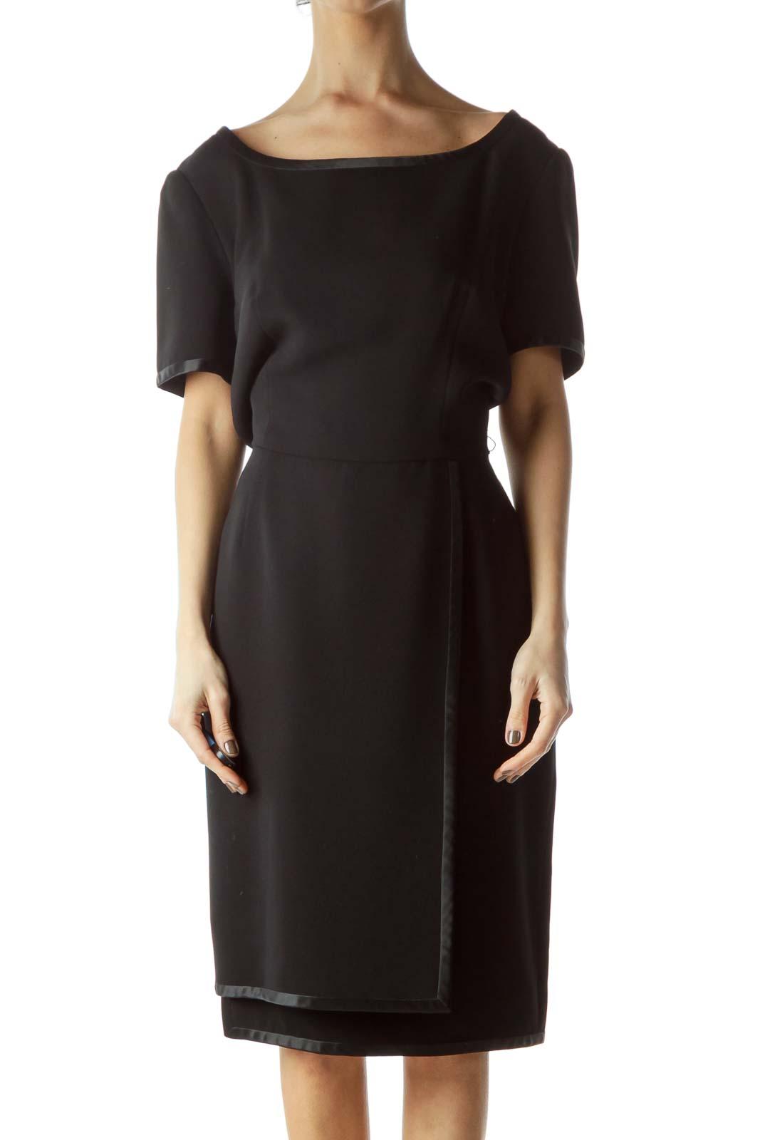 Black Short Sleeve Dress Front
