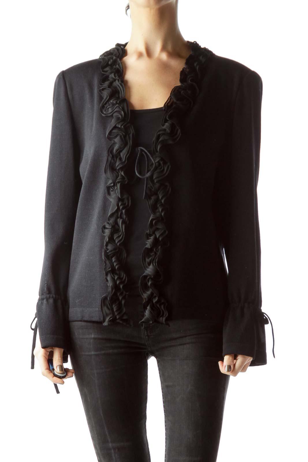 Black Ruffled Long Sleeve Knit Cardigan Front