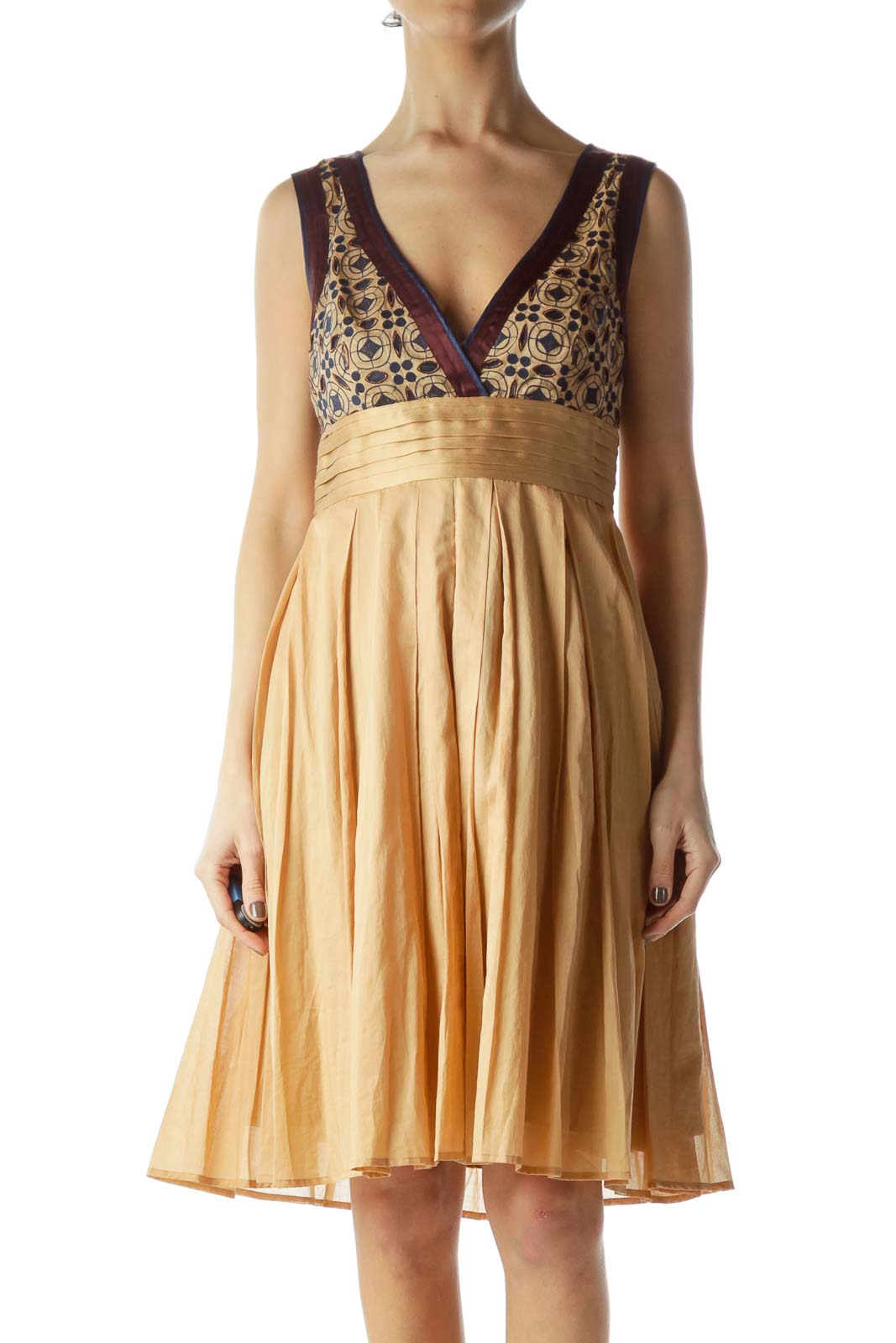Beige and Navy Flared Dress Front