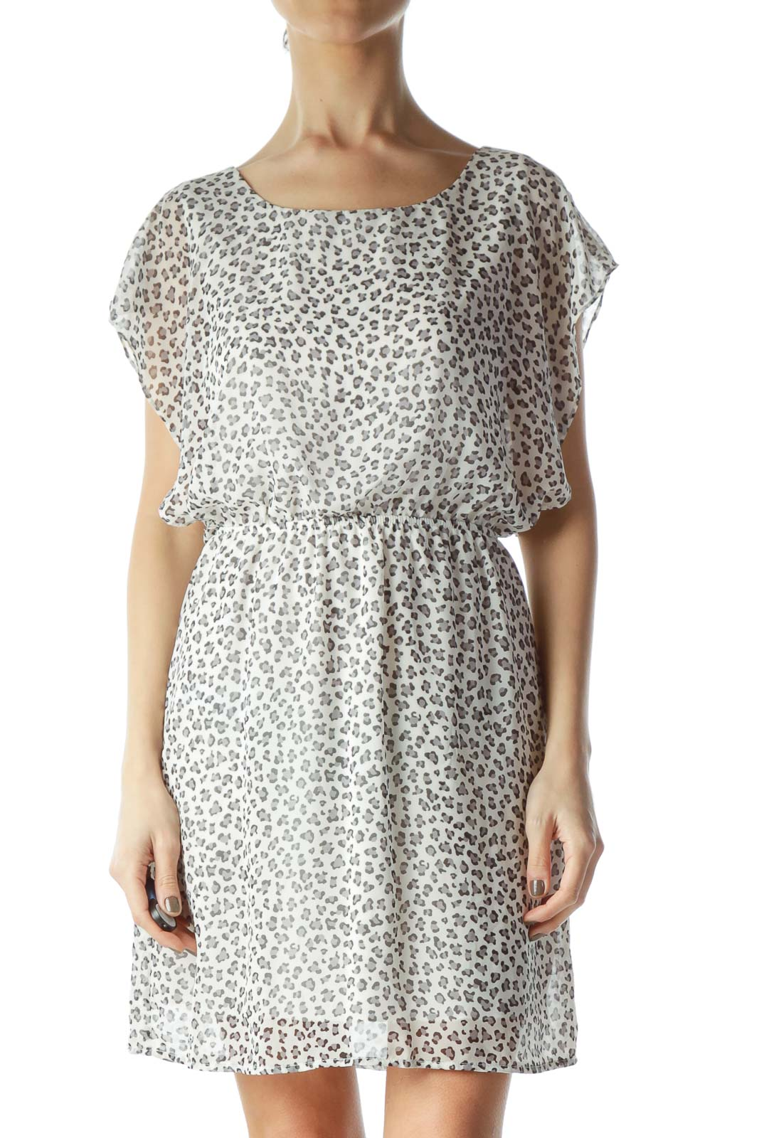 White Cheetah Print Dress Front