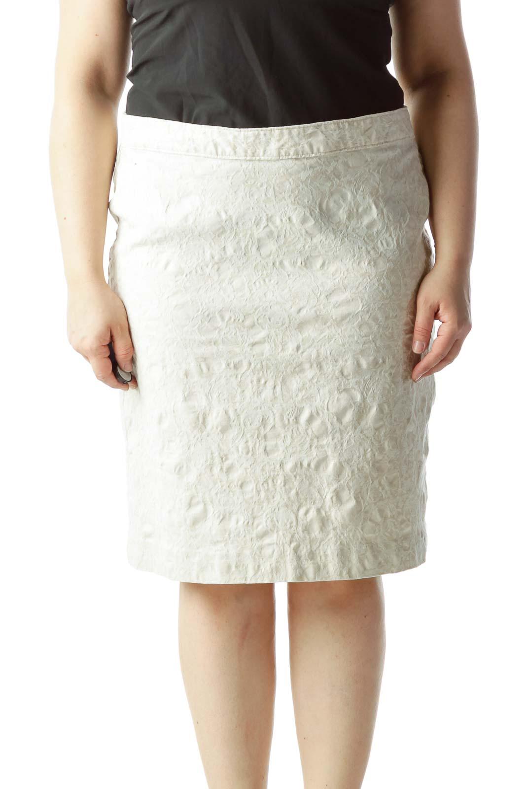 Cream Jacquard A-Line Medium Length Skirt Front