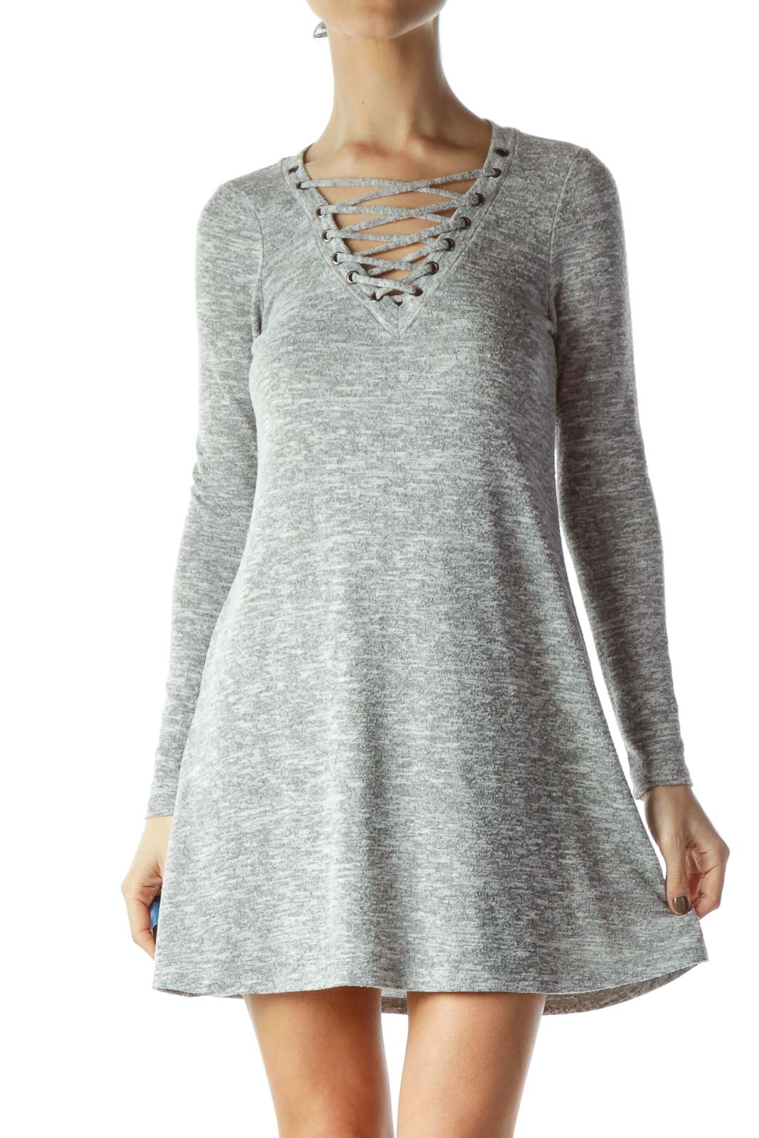 Gray Jersey-Knit Dress with Tie Detail Front