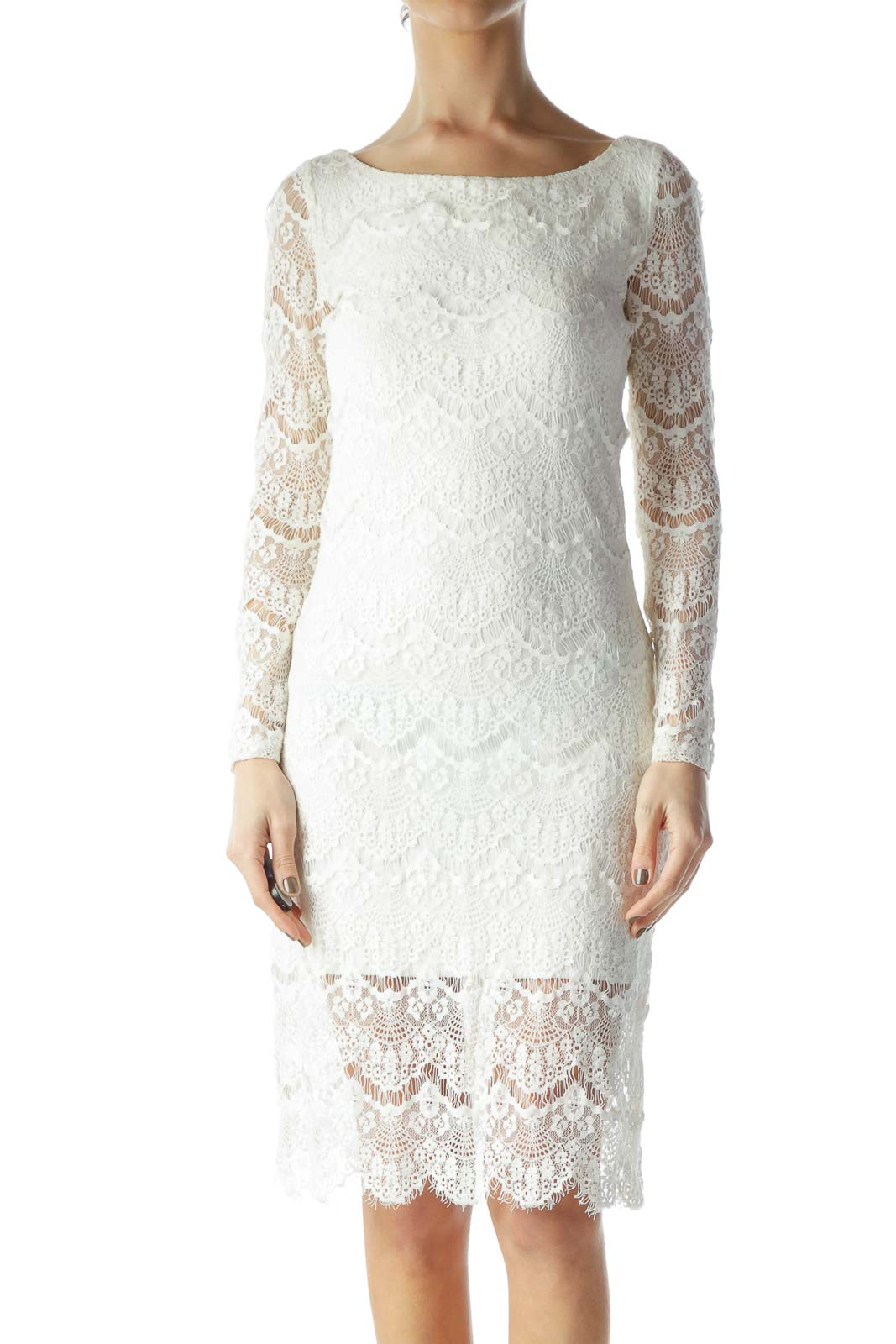 Cream Lace Long Sleeve Knit Dress Front