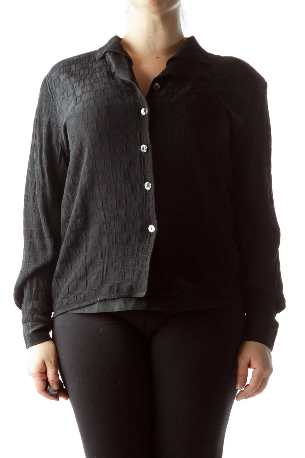 Black Textured Buttoned Long Sleeve Shirt Front