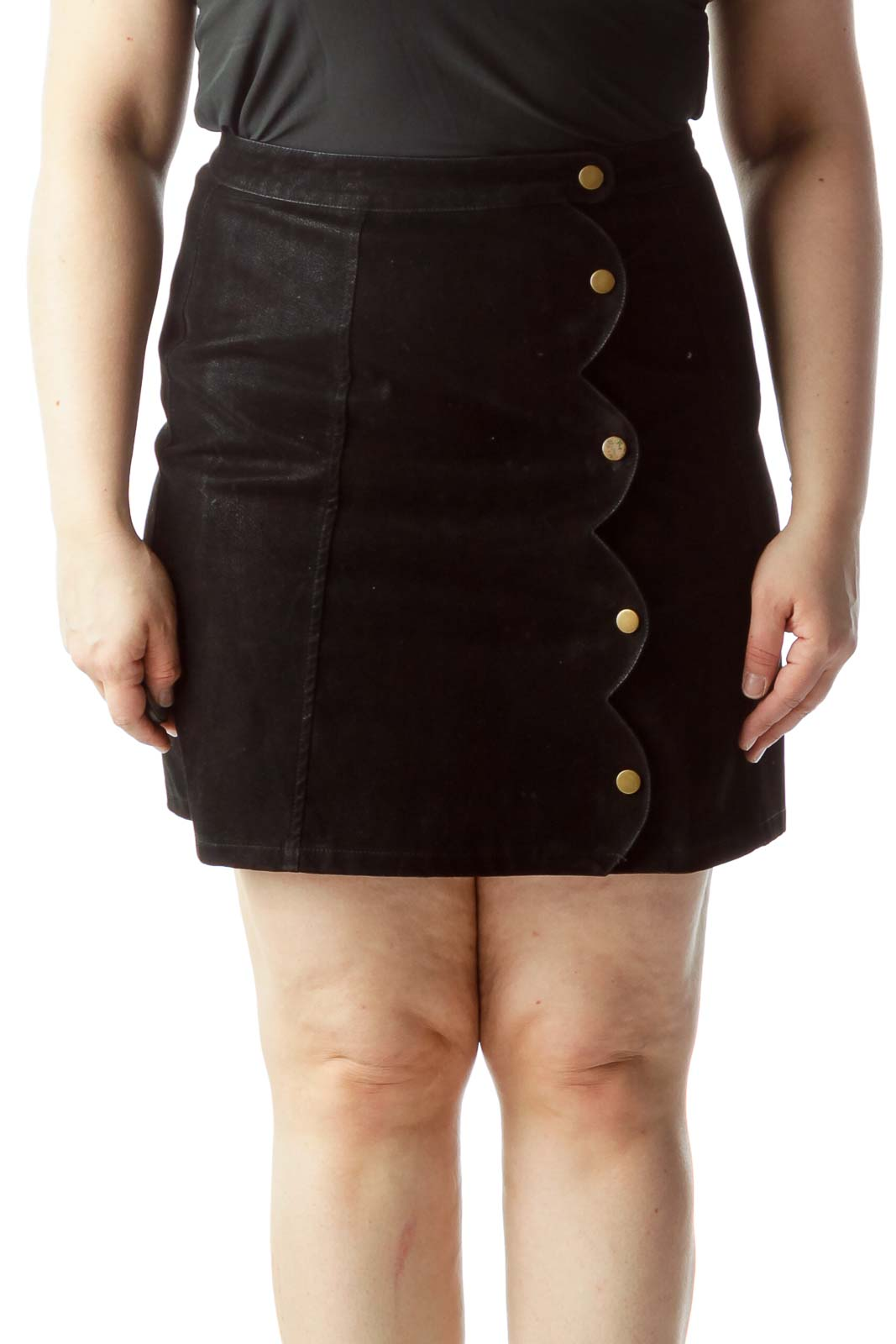 Black Front Snap Metallic Buttons Design A-Line Skirt Front