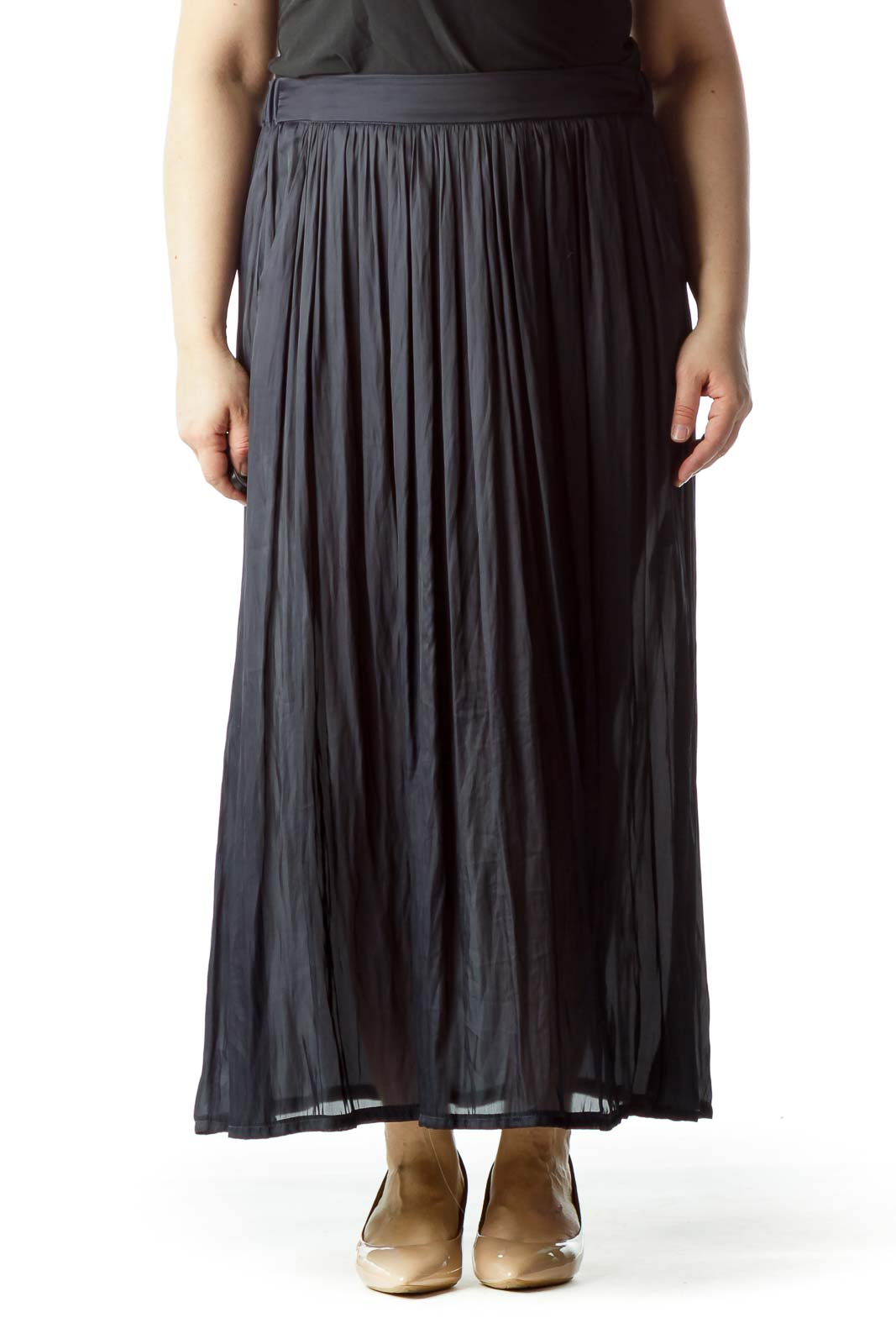 Navy Blue Pleated Pocketed See-Through Maxi Skirt Front