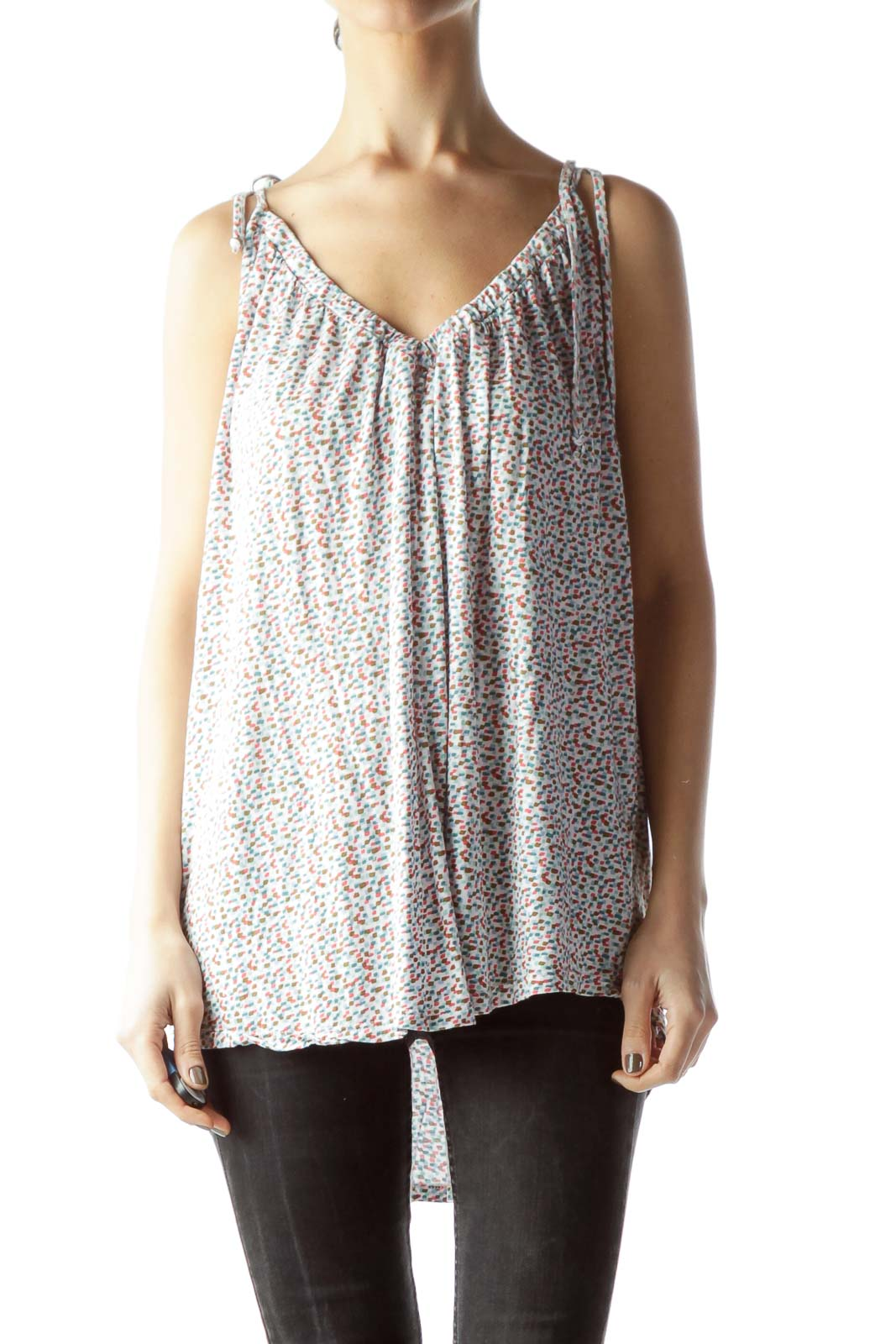 Multicolored Knotted Straps Jersey-Knit Flared Top Front