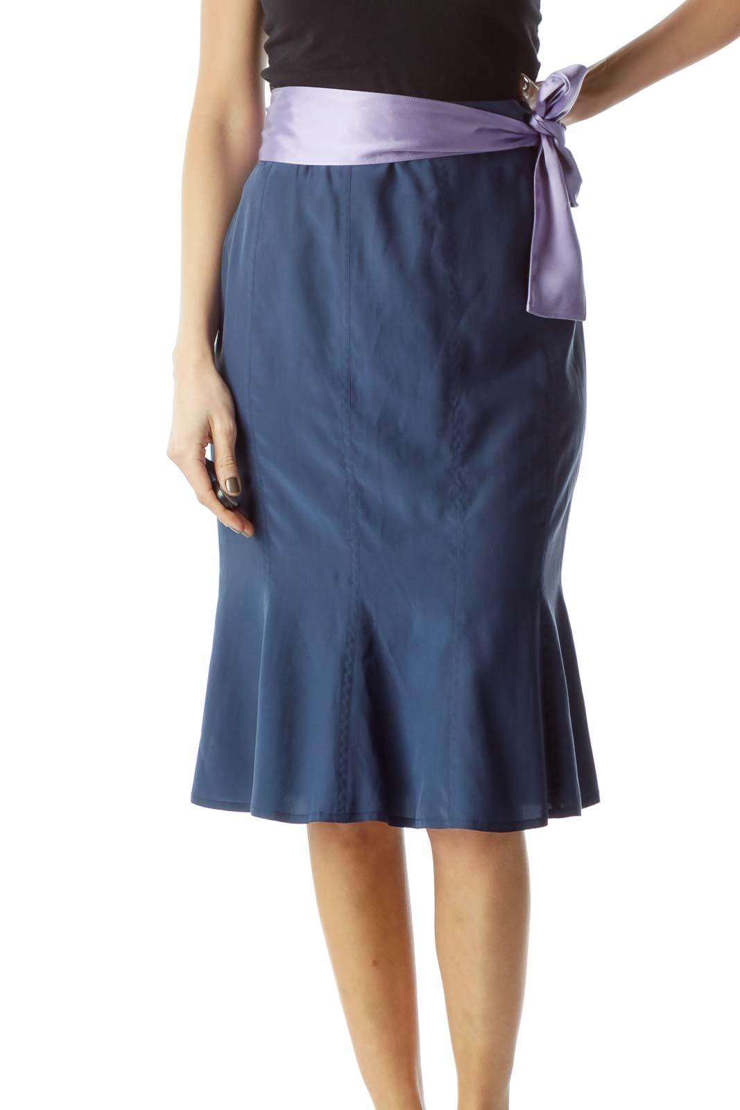 Blue Lilac Ribbon Belt 100% Silk Flared Skirt Front