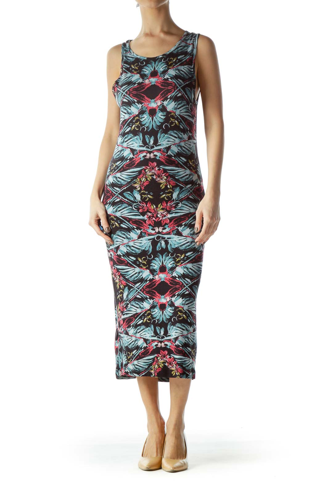 Multicolored Jersey-Knit Floral Print Day Dress Front