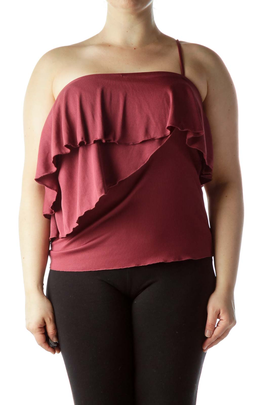 Burgundy One-Shoulder Ruffled Top Front