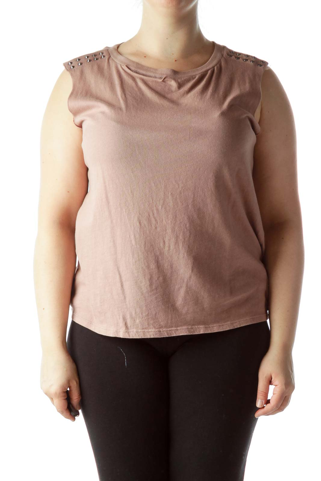 Dusty Rose Studded and Distressed Top Front