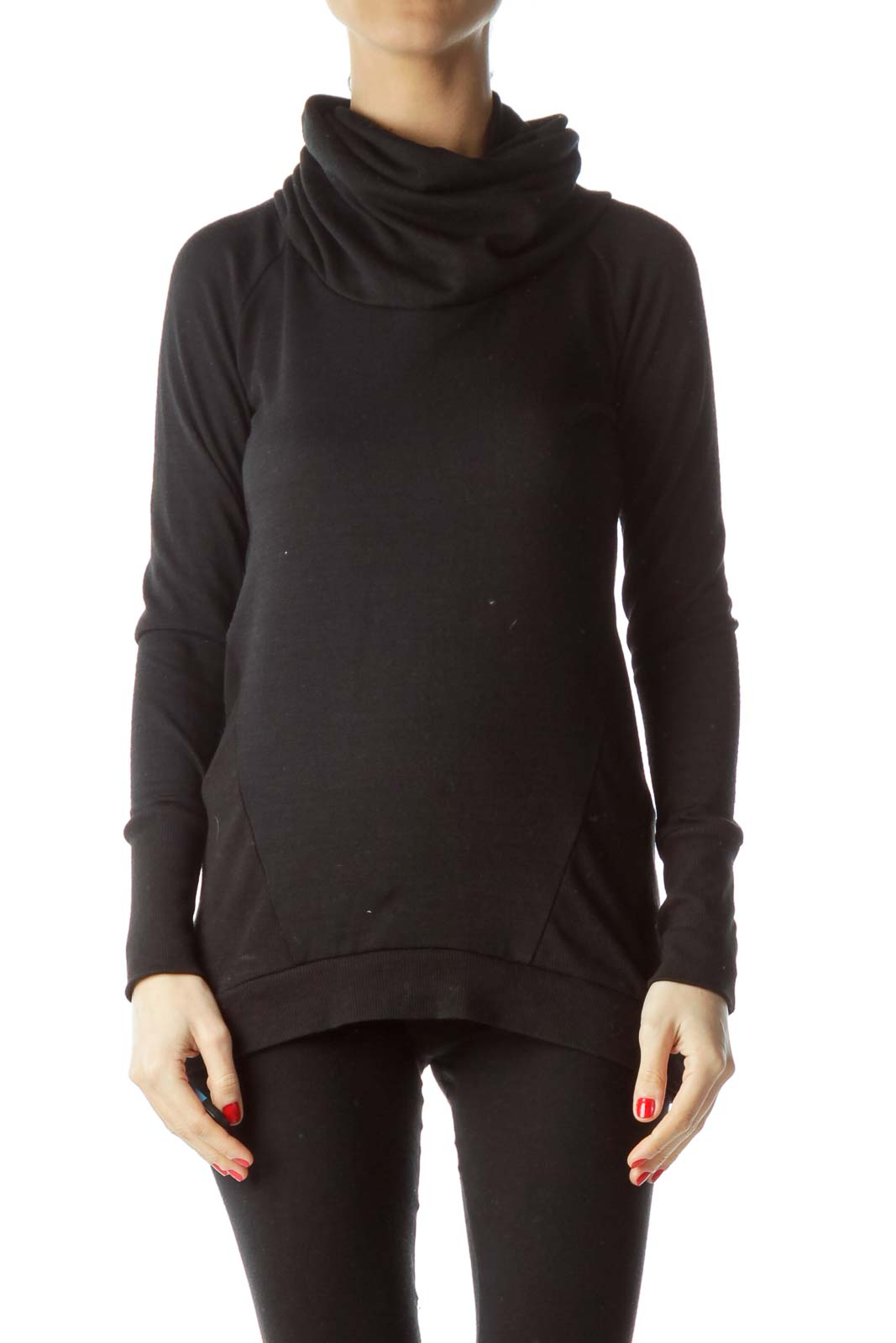 Black Cowl-Neck Long-Sleeve Thumbhole Knit Top Front