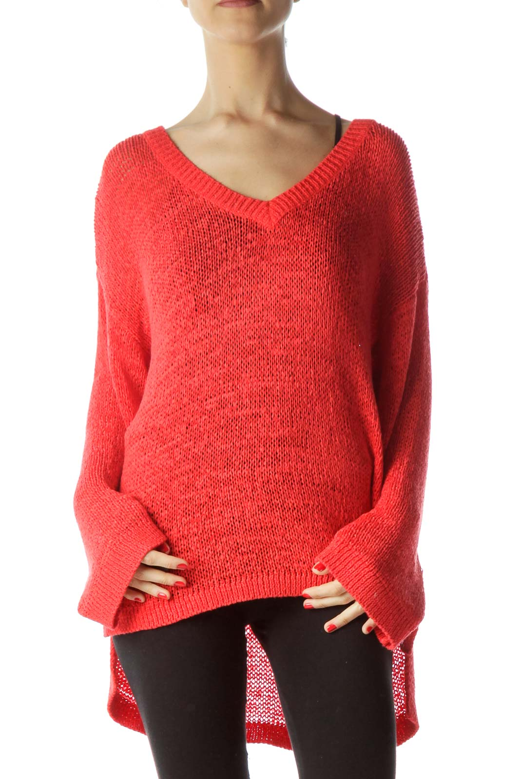 Red V-Neck See-Through Loose Knit Top Front