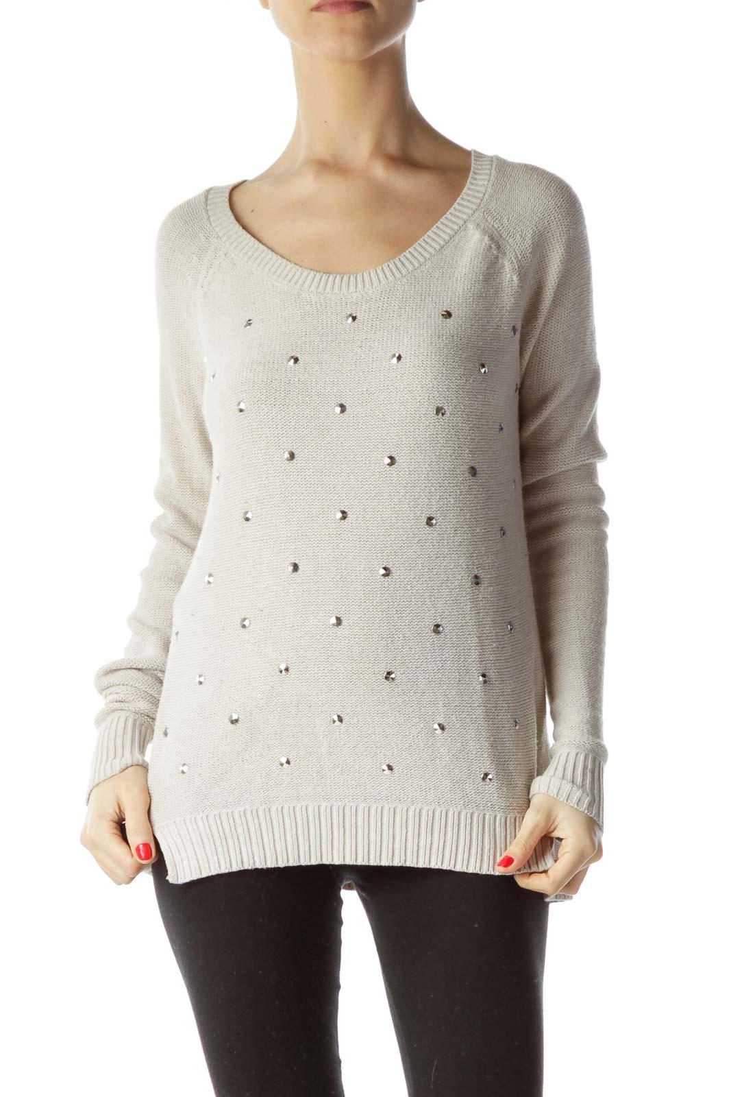 Beige Silver Studs Round Neck Knit Sweater Front