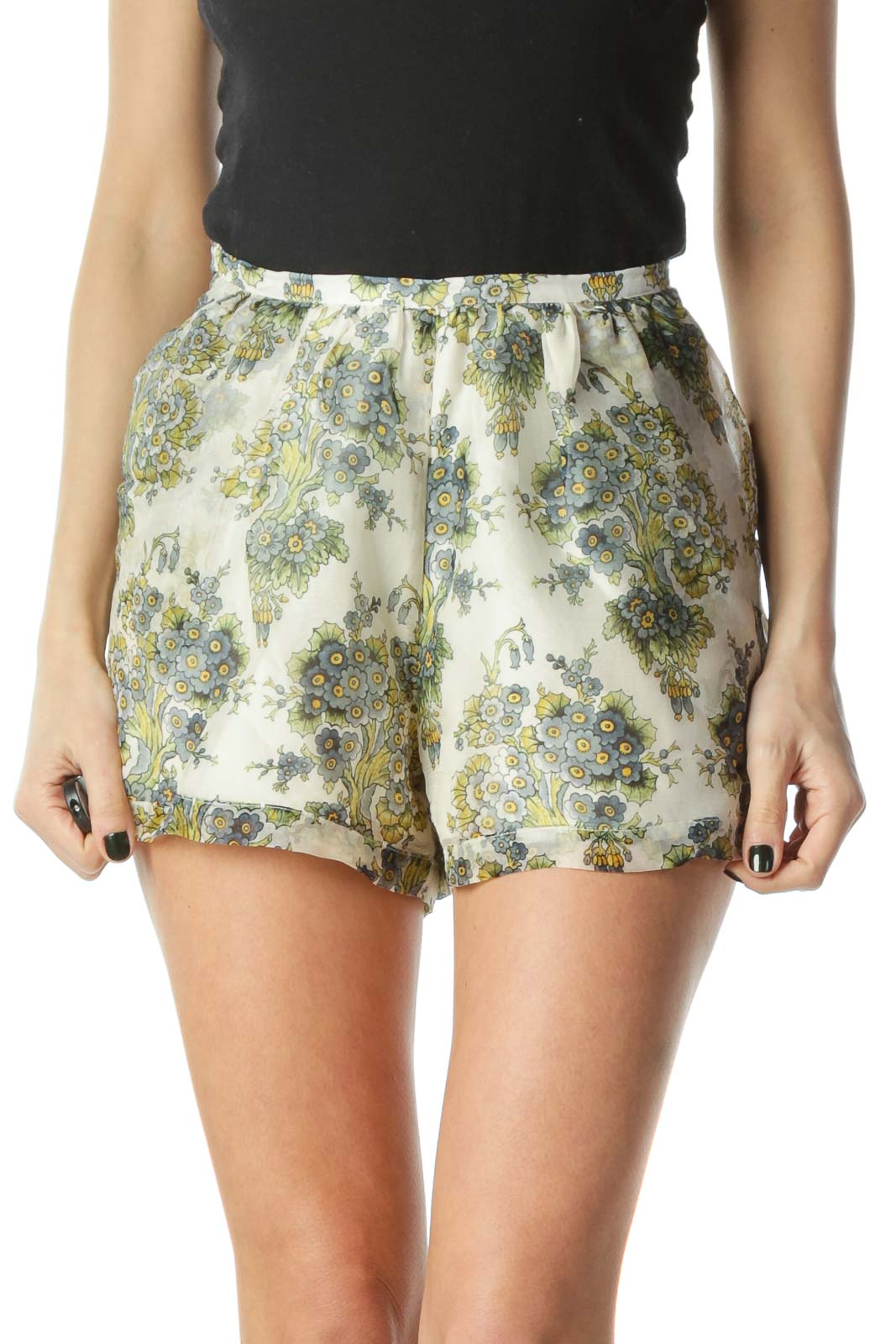 Cream Floral Sheer Shorts Front