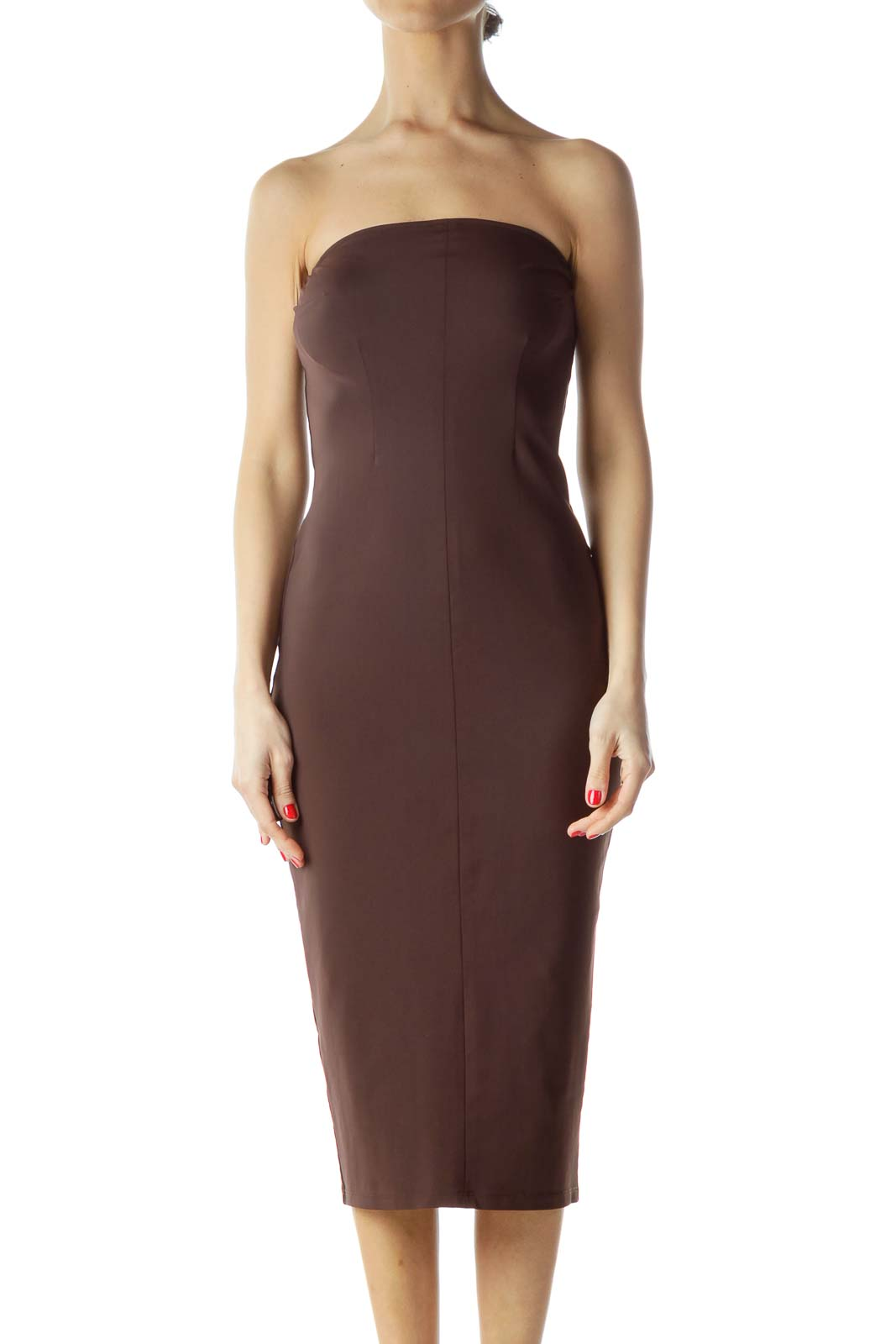 Brown Strapless Stretch Slim Cocktail Dress Front