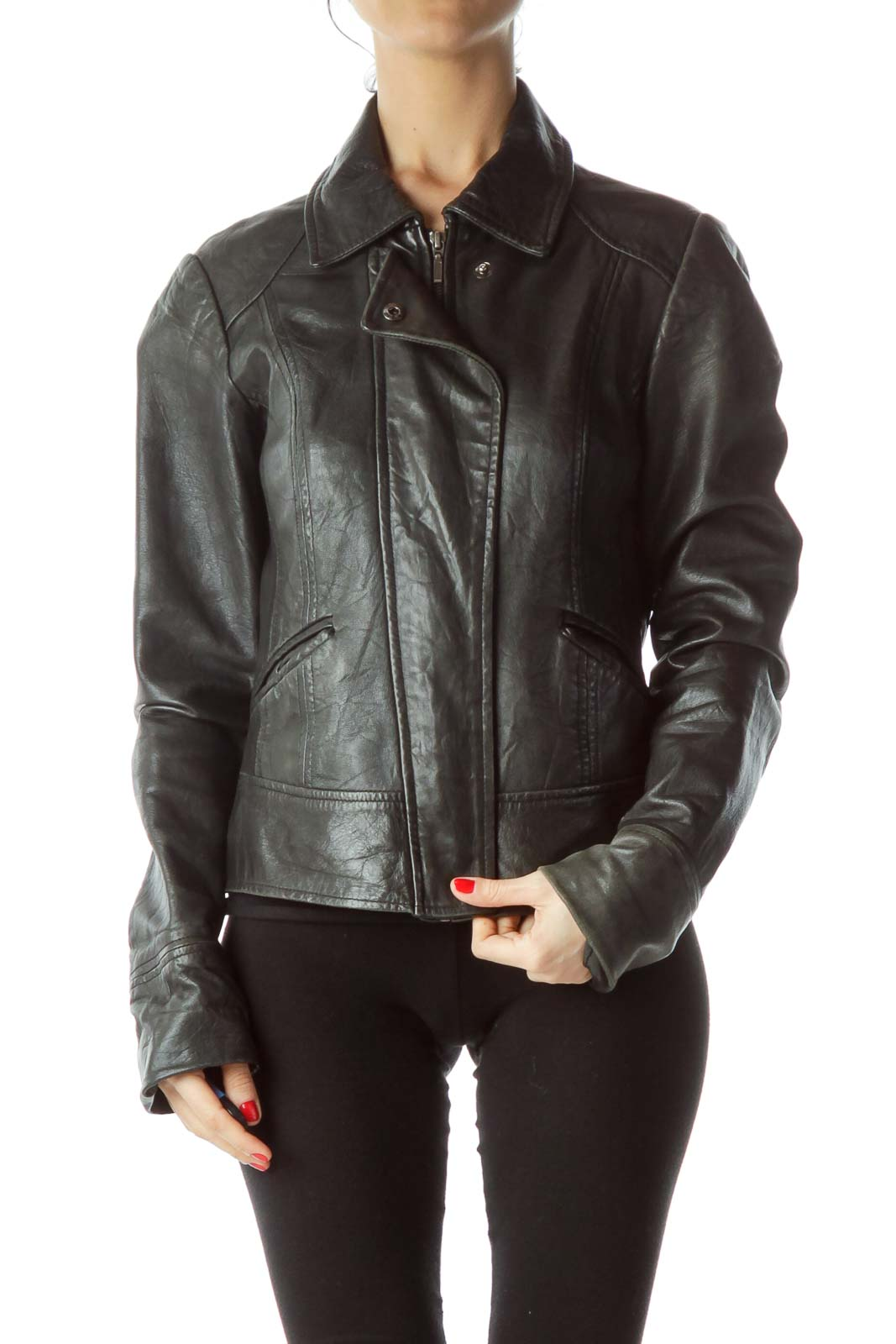 Black Zippered Fitted Jacket Front