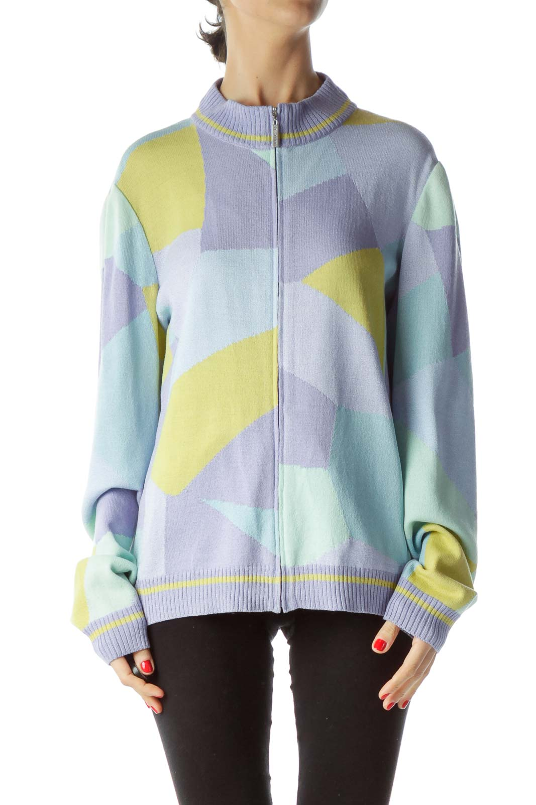 Lilac Light Blue Yellow Color Block Zippered Sweater Front