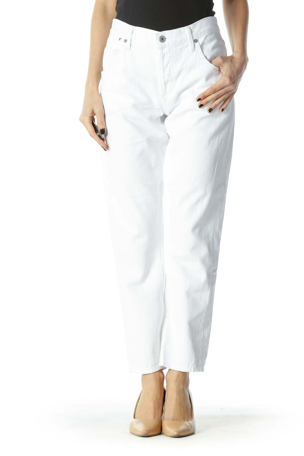 White Pocketed Straight-Leg Denim Jeans Front