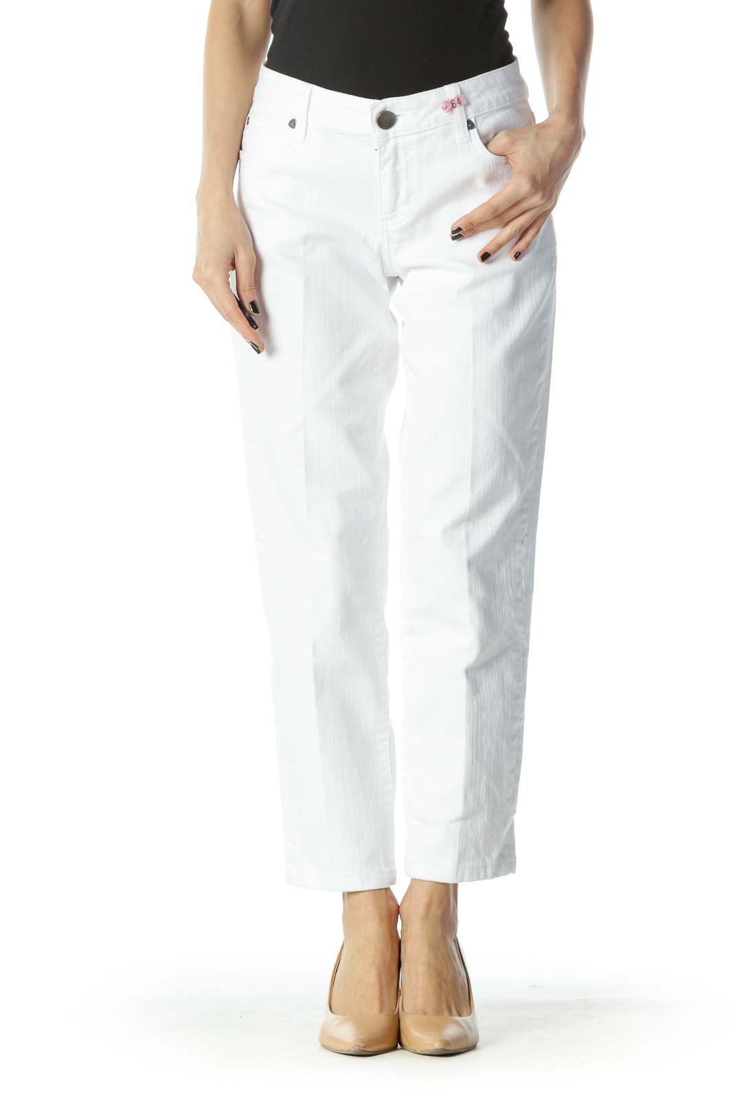White Cropped Denim Jeans Front