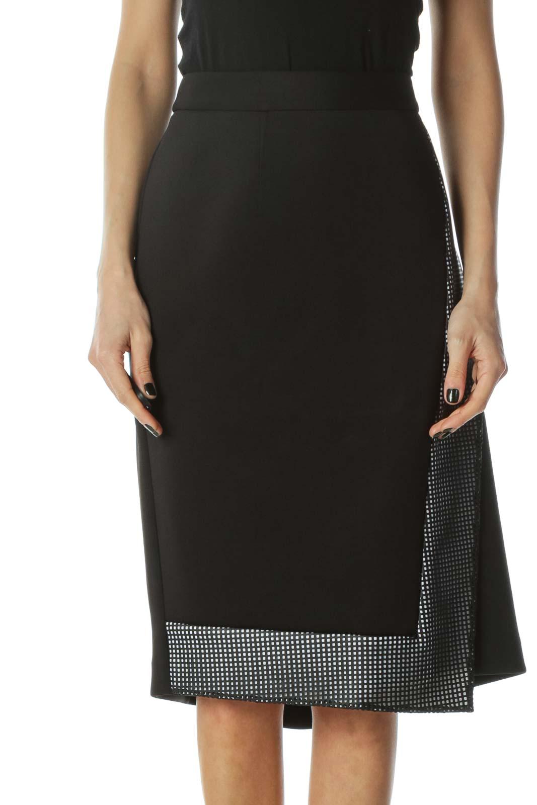 Black Asymemetric Skirt Front