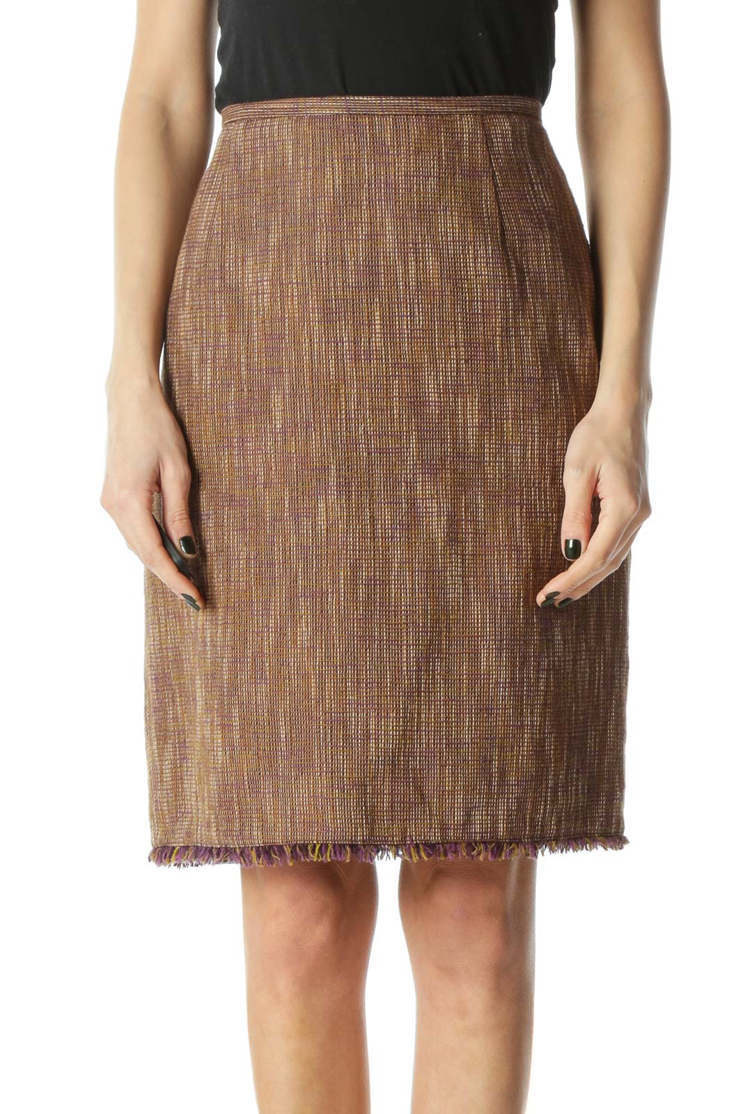 Brown Tweed Pencil Skirt Front