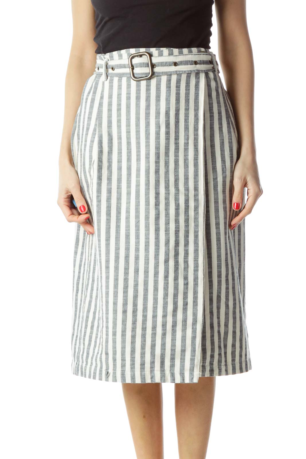Navy Blue Cream Striped Belted Wrap Pencil Skirt Front