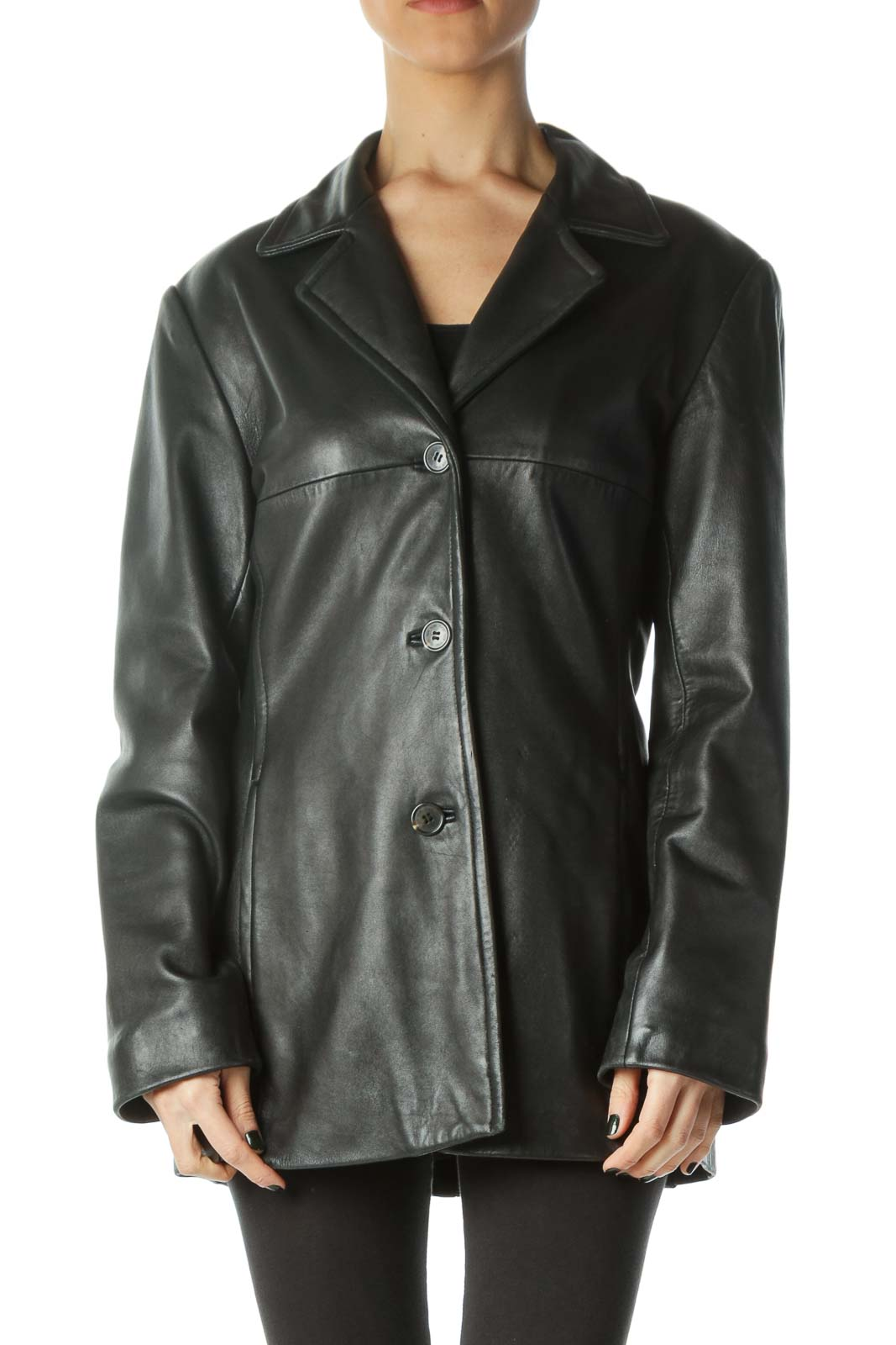 Black Buttoned Pocketed Leather Coat Front