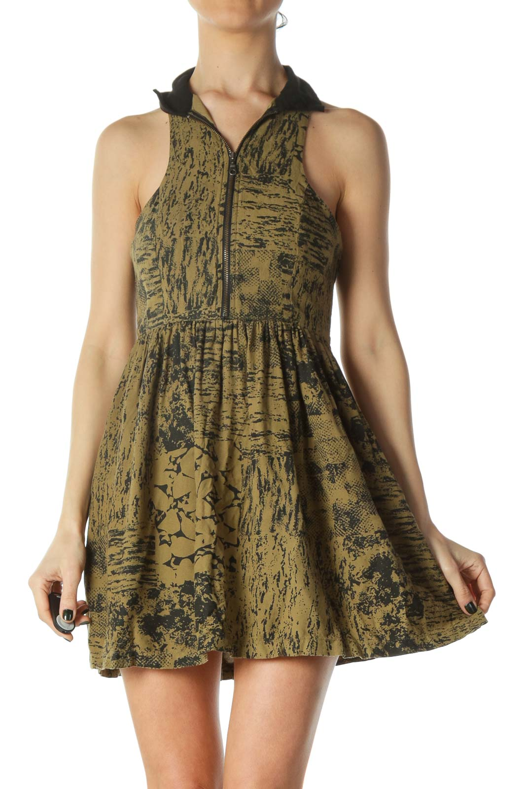 Black Green Print Zippered Day Dress Front