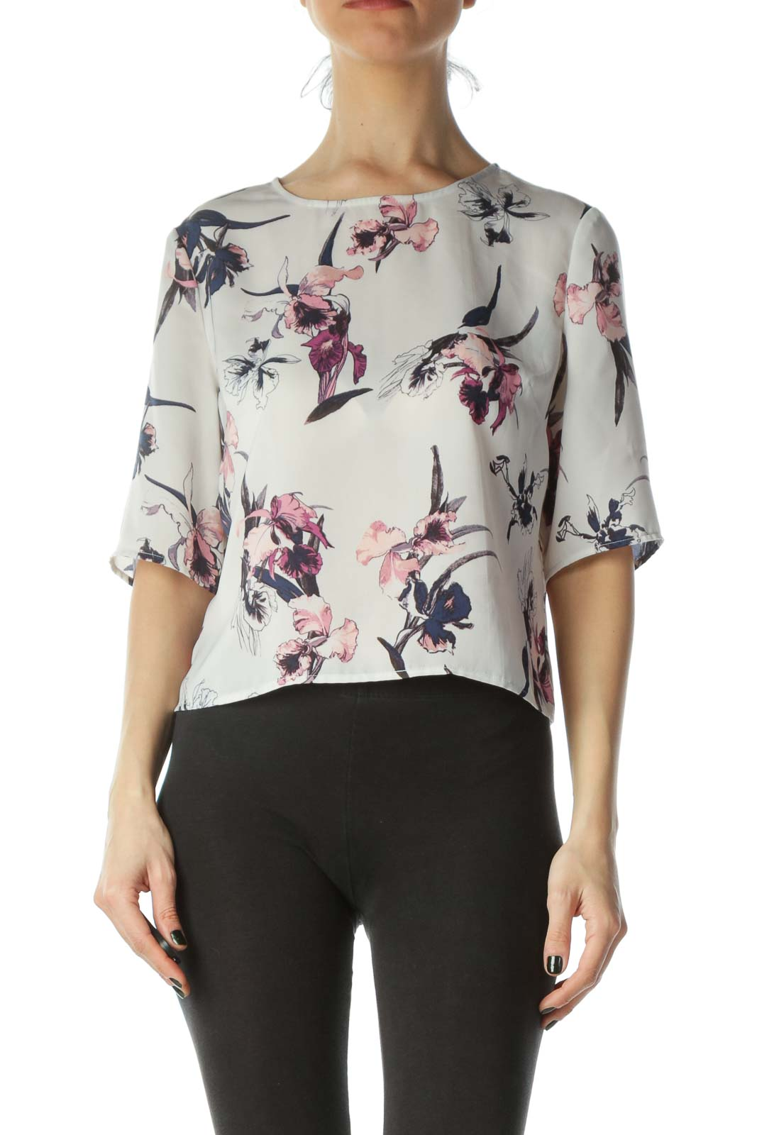 Cream Cropped Floral Blouse Front