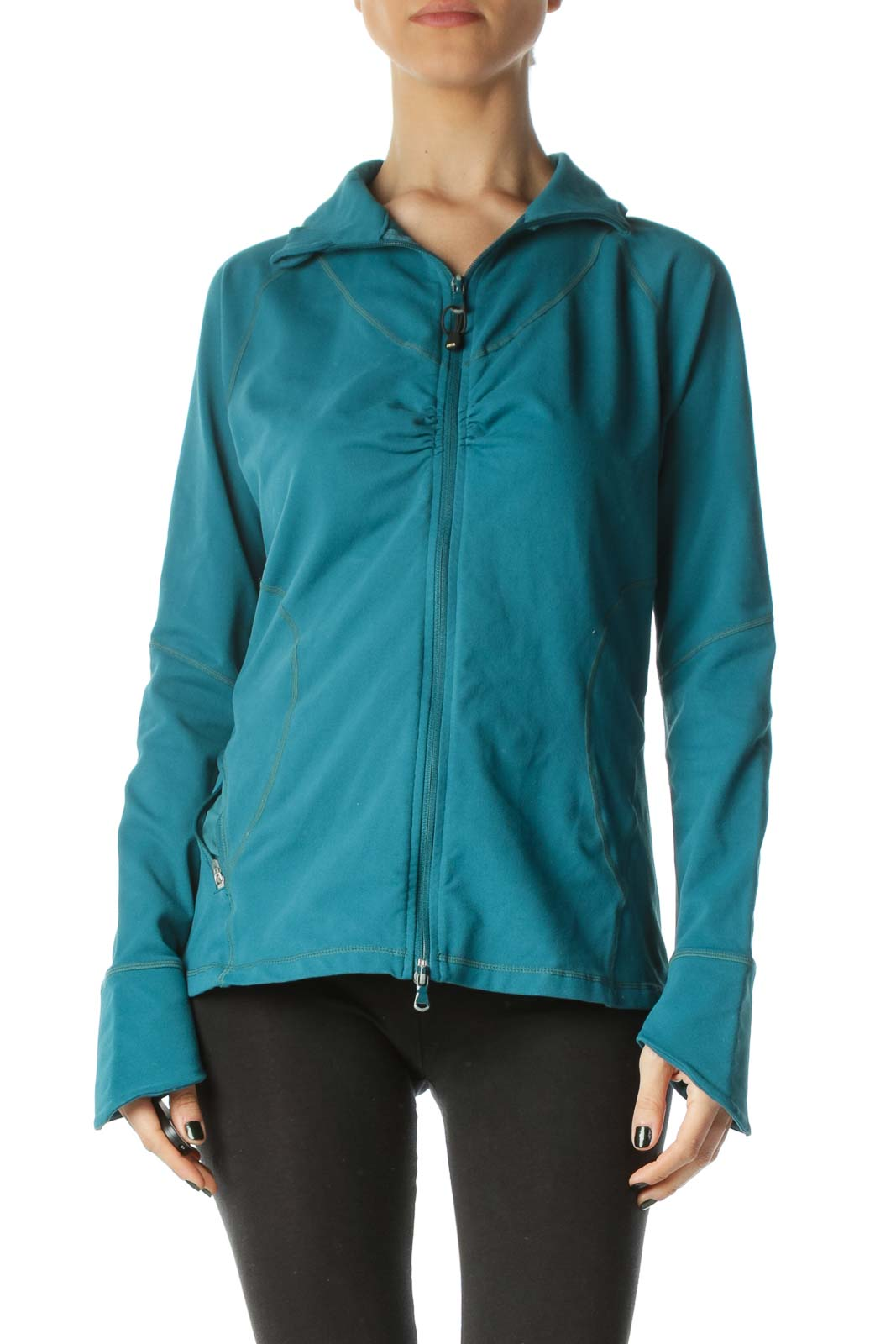 Teal Blue Stretch Scrunched Sports Jacket Front